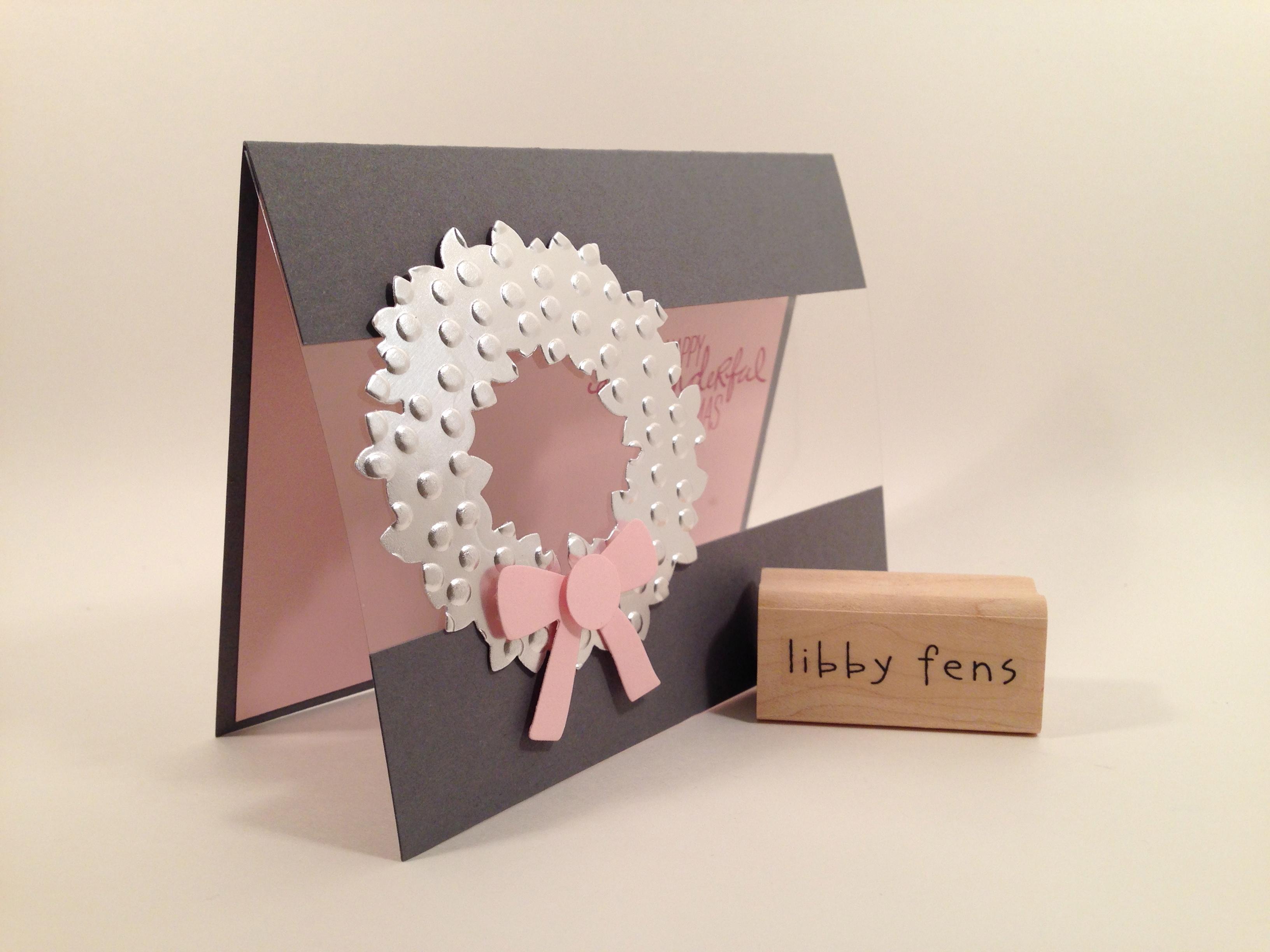 libbystamps, Wondrous Wreath Stamp Set, Wondrous Wreath Framelits, Silver Foil Sheets, Window Sheets, Decorative Dots Embossing Folder, 1/2 Circle Punch, Christmas, Window Sheet Card