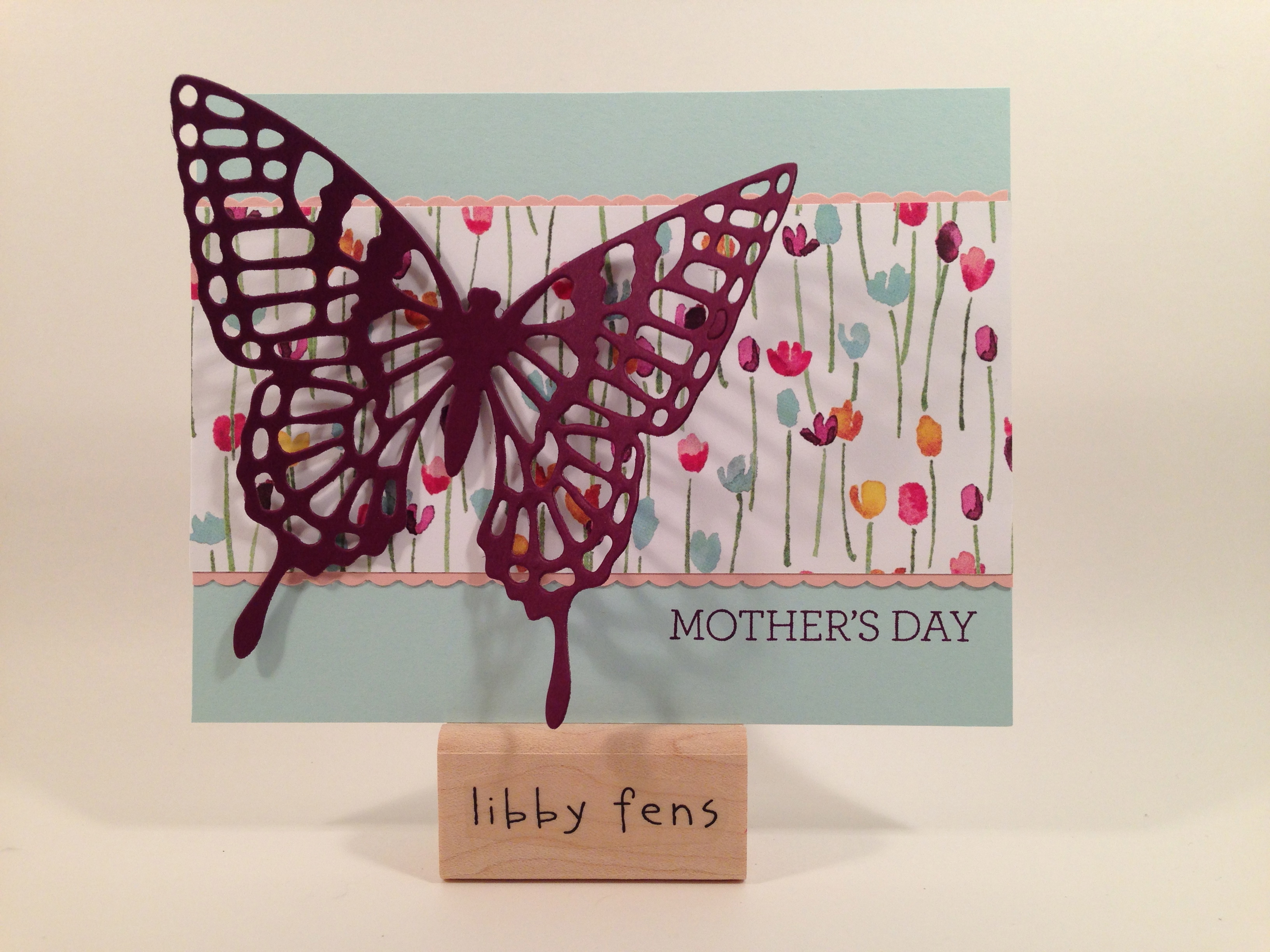 libbystamps, Stampin' Up, Butterfly Thinlits, Painted Blooms DSP, Crazy About You Stamp Set, Dotted Scallop Ribbon Border Punch, Mother's Day