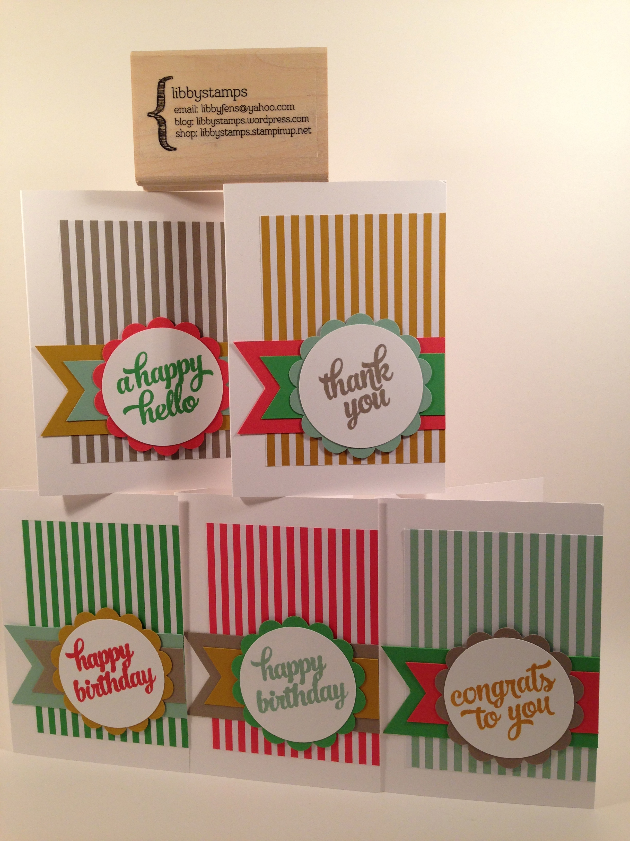 "libbystamps, Stampin' Up, stampinup, Tin of Cards Stamp Set, 2015-2017 In Color Envelope Liner Paper, Banner Triple Punch, 2"" Circle Punch, 2 3/8"" Scallop Circle Punch, Whisper White Note Card & Envelopes, 2015-2017 In Color Paper & Ink Pads"