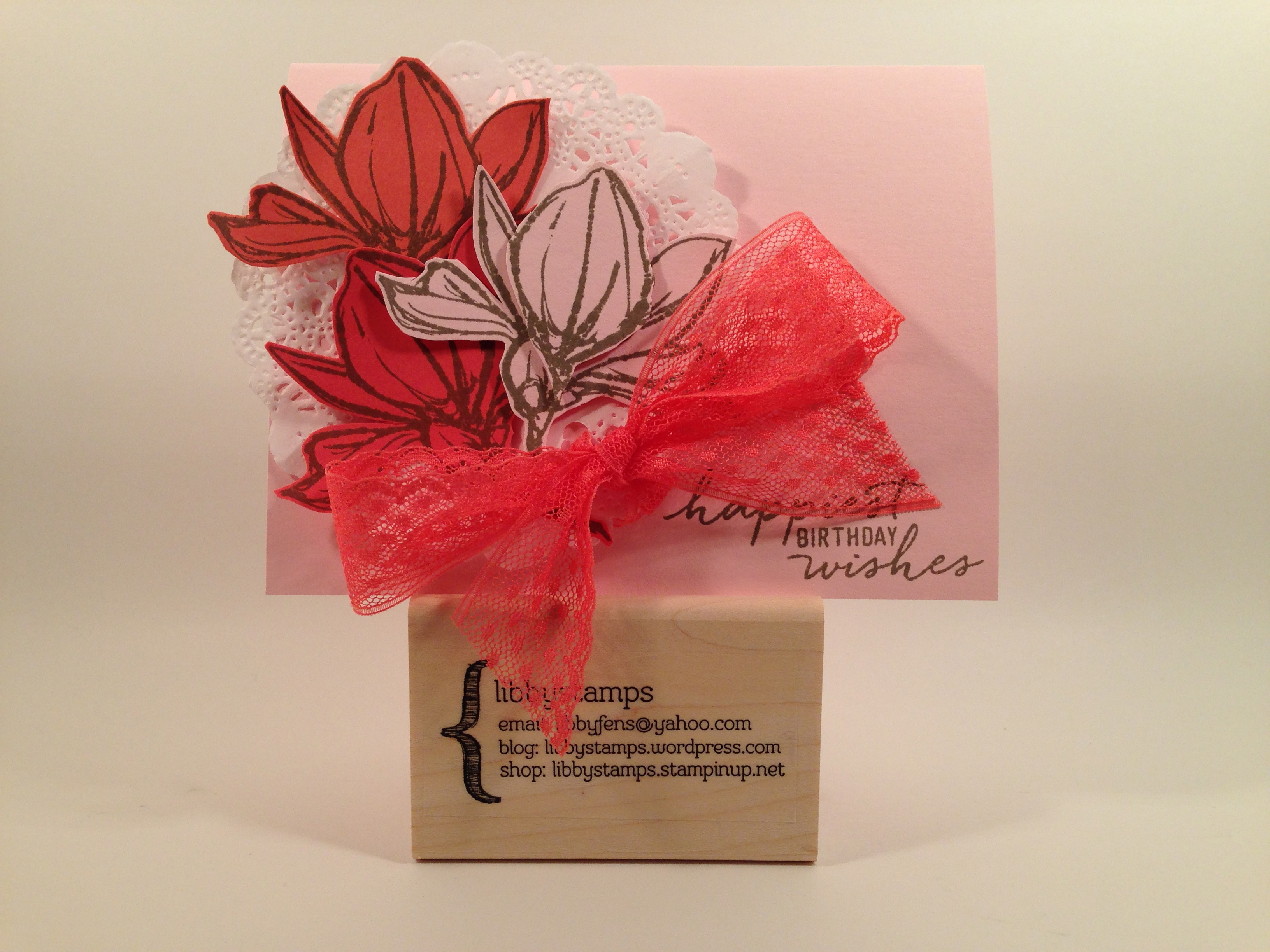 """libbystamps, Stampin' Up, stampinup, Remarkable You Stamp Set, Watercolor Wishes Card Kit, Tea Lace Paper Doilies, Watermelon Wonder 1"""" Dotted Trim"""