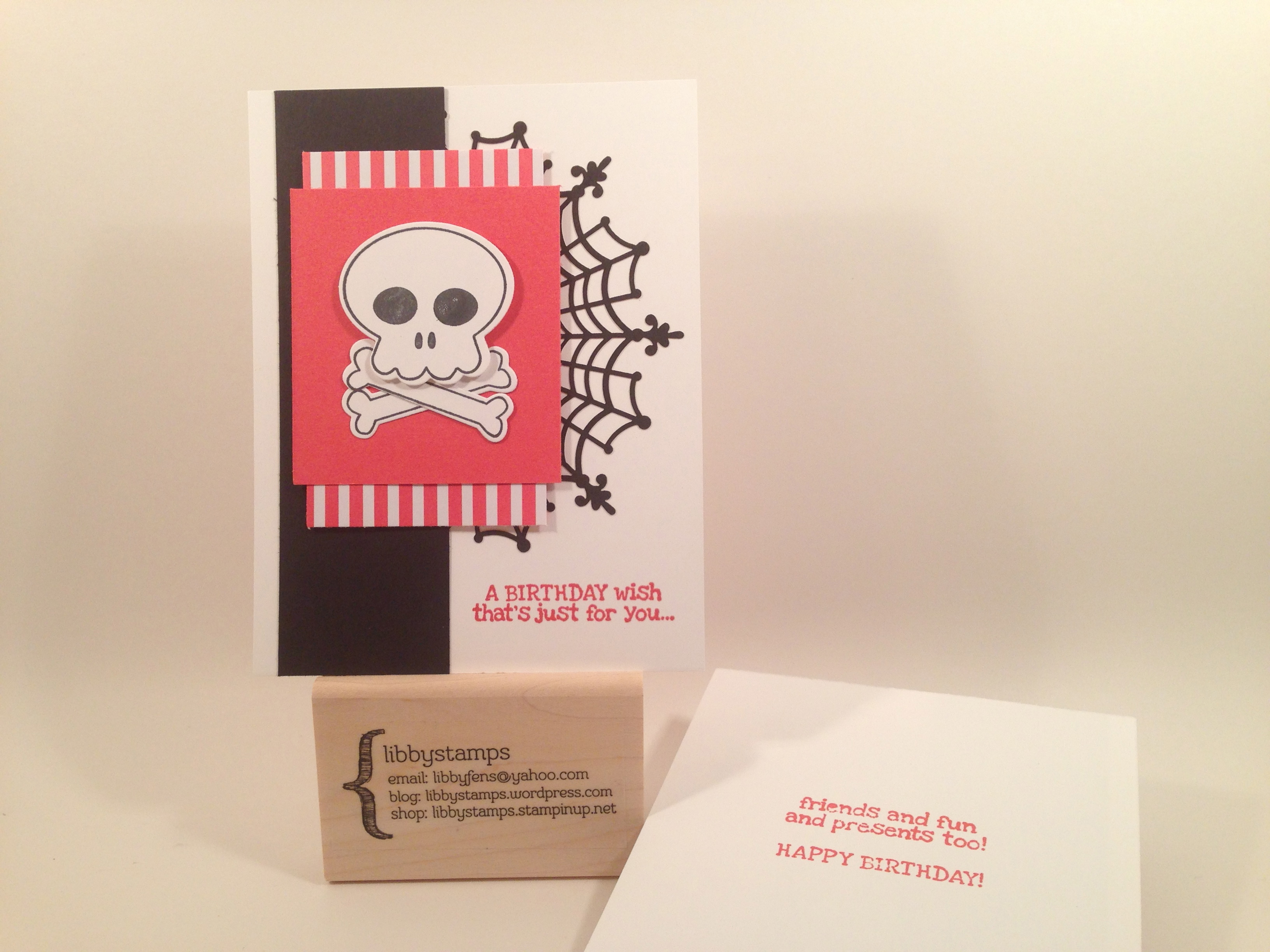 libbystamps, Stampin' Up, Howl-O-Ween Treat Stamp Set, Remembering Your Birthday Stamp Set, Boo To You Framelits, Spiderweb Doilies, 2015-2017 In Color Envelope Liner Paper, Halloween Birthday