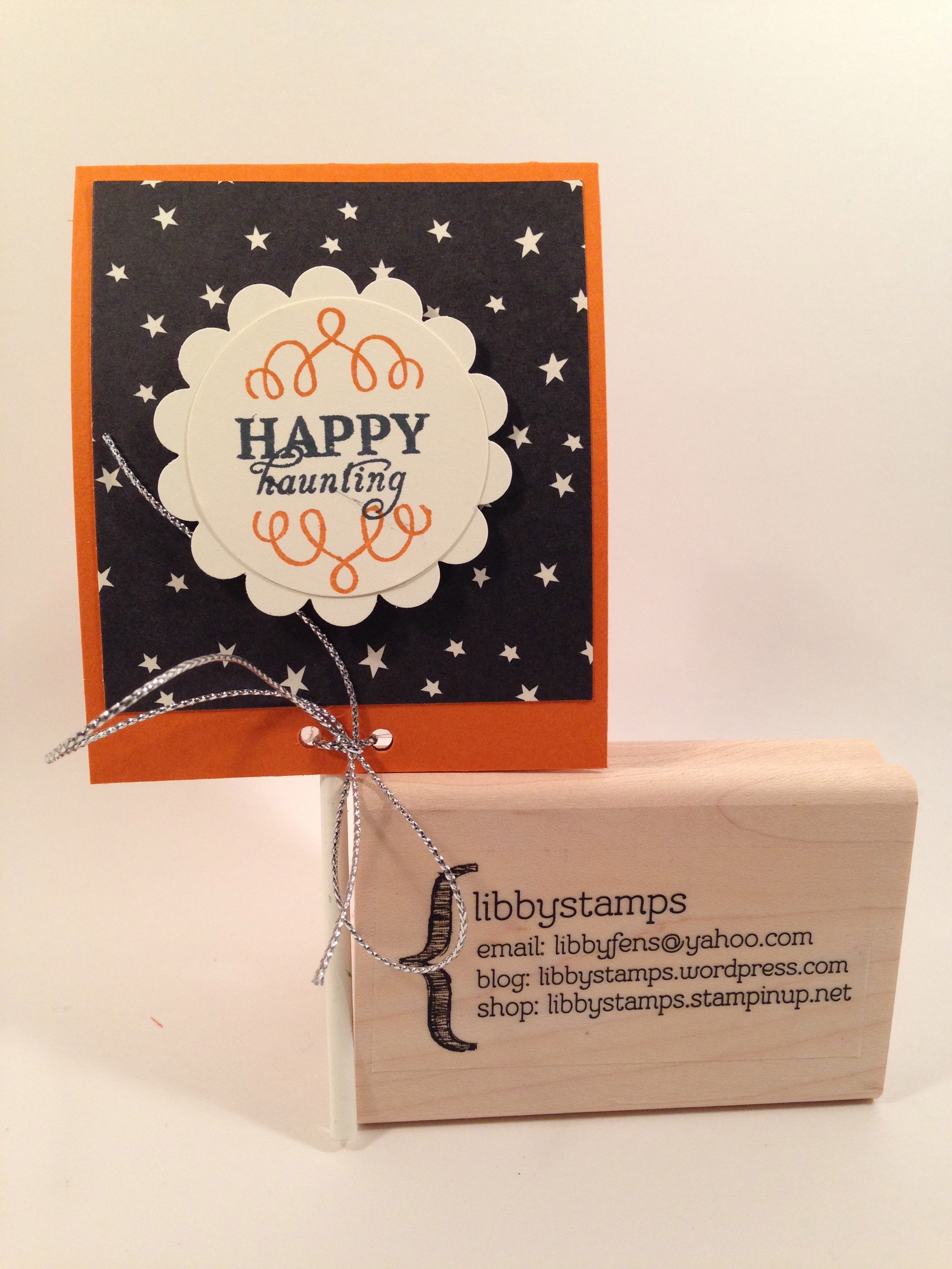 libbystamps, Stampin' Up, Happy Haunting DSP, sucker cover, Halloween treat holder, Wickedly Sweet Paper Pumpkin