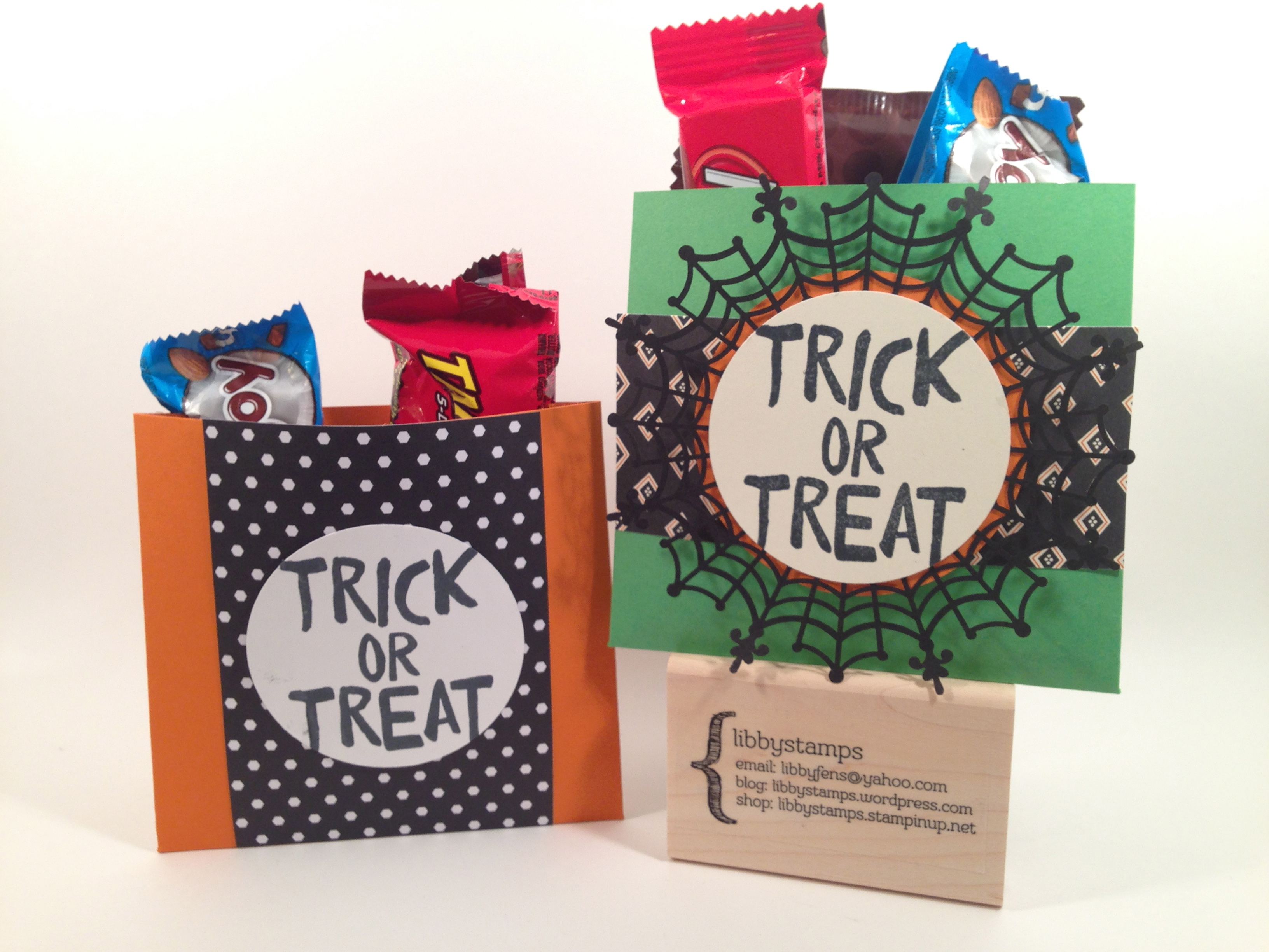 libbystamps, Stampin' Up, Halloween treat, Howl-O-Ween Treat Stamp Set, Happy Haunting DSP, Go Wild DSP Stack, Spider Web Doilies