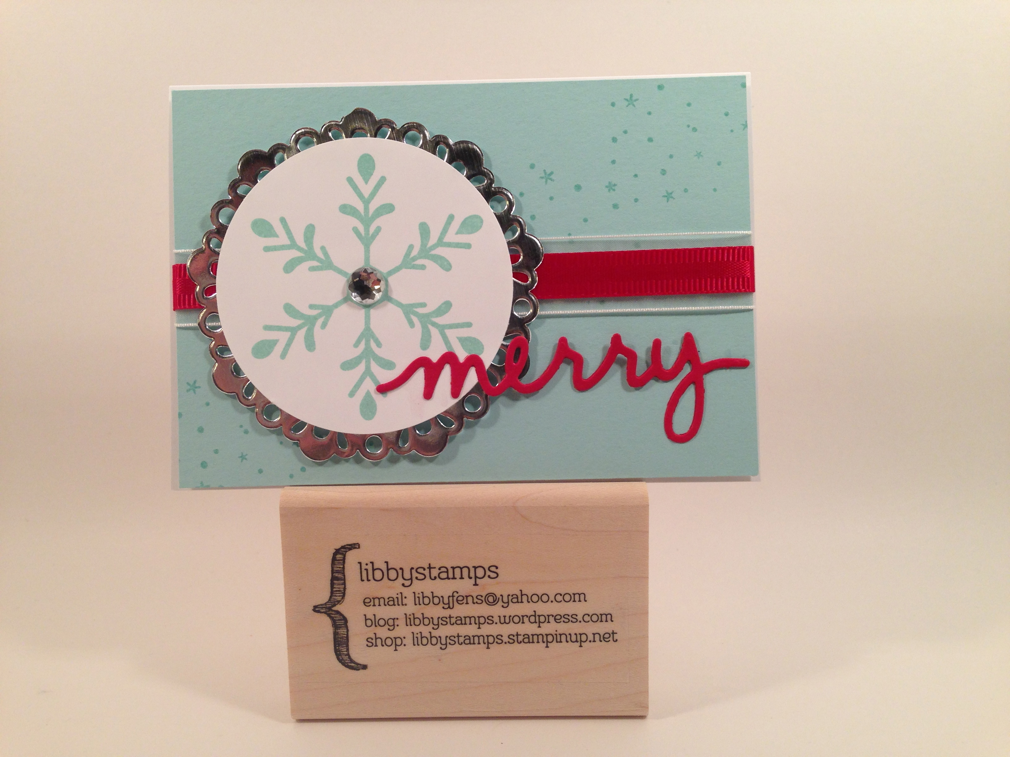 libbystamps, Stampin Up, Holly Jolly Greetings, Christmas Greetings Thinlits, Large Rhinestone Basic Jewels, 2 1/2 Circle Punch, Metallic Foil Doilies, Whisper White Note Card & Envelopes, Real Red 3/8 Satin Woven Ribbon,