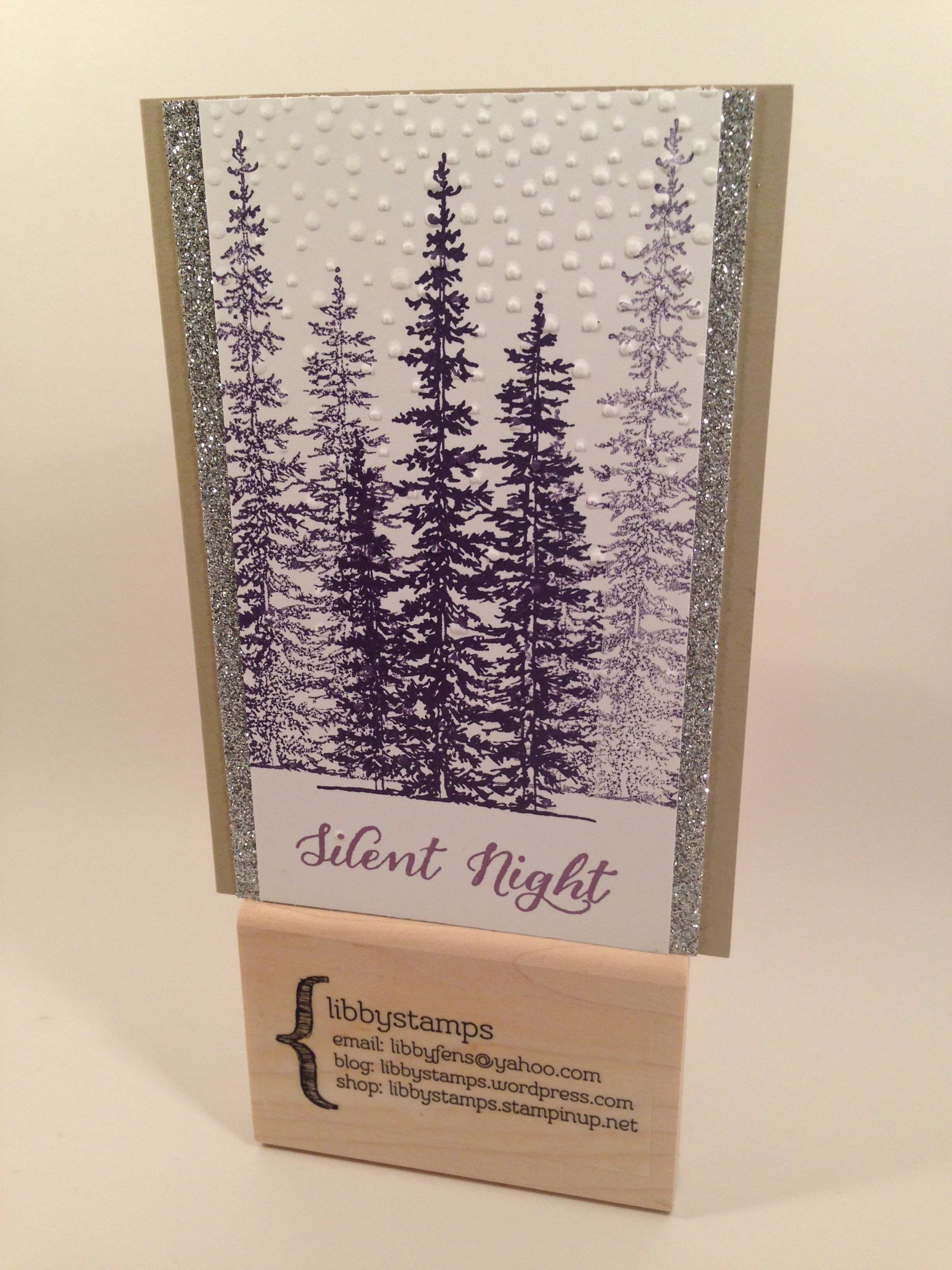 libbystamps, Stampin Up, Wonderland, Softly Falling Embossing Folder, Silver Glimmer Paper, Christmas Card