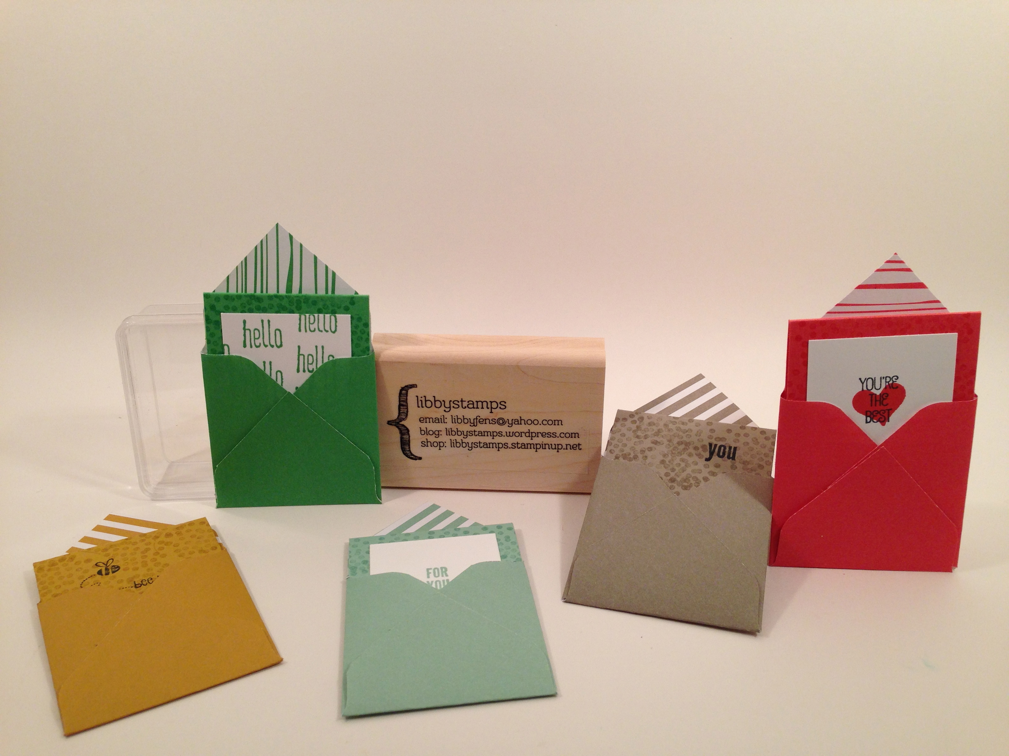 libbystamps, Stampin Up, Honeycomb Hello, 2x2 Mini Cards, Envelope Punch Board,