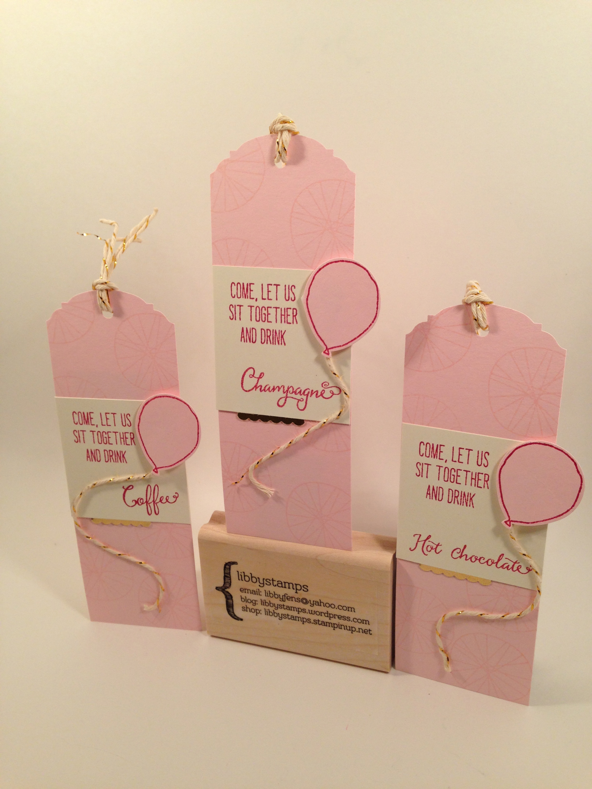 libbystamps, Stampin Up, Balloon Celebration, Balloon Bouquet Punch, Gold Foil, Ornate Tag Topper Punch, Cupcake Builder Punch, tags