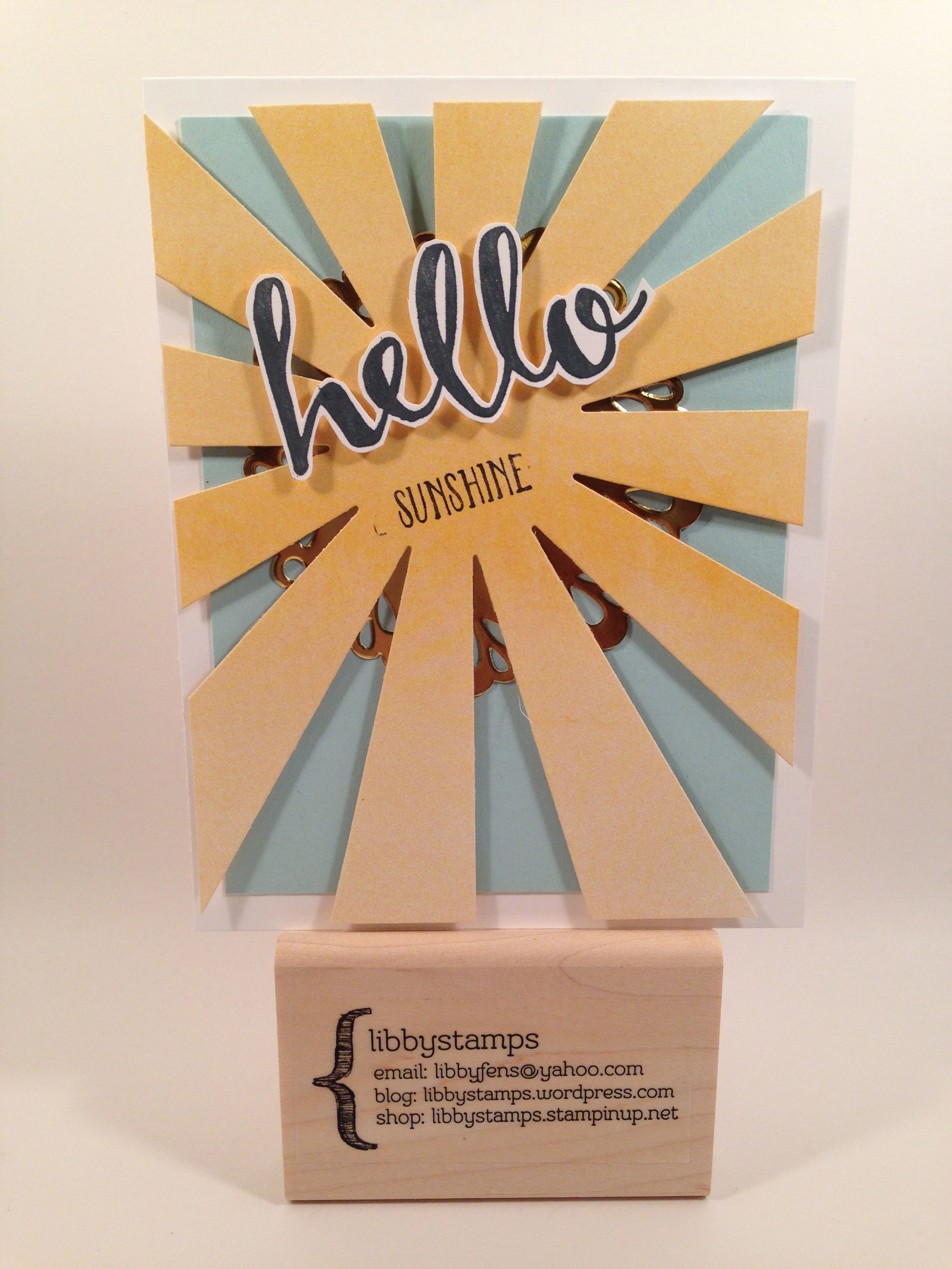 libbystamps, Stampin' Up, Hello, Sunburst Thinlits, Perfectly Artistic DSP, Metallic Foil Doilies,