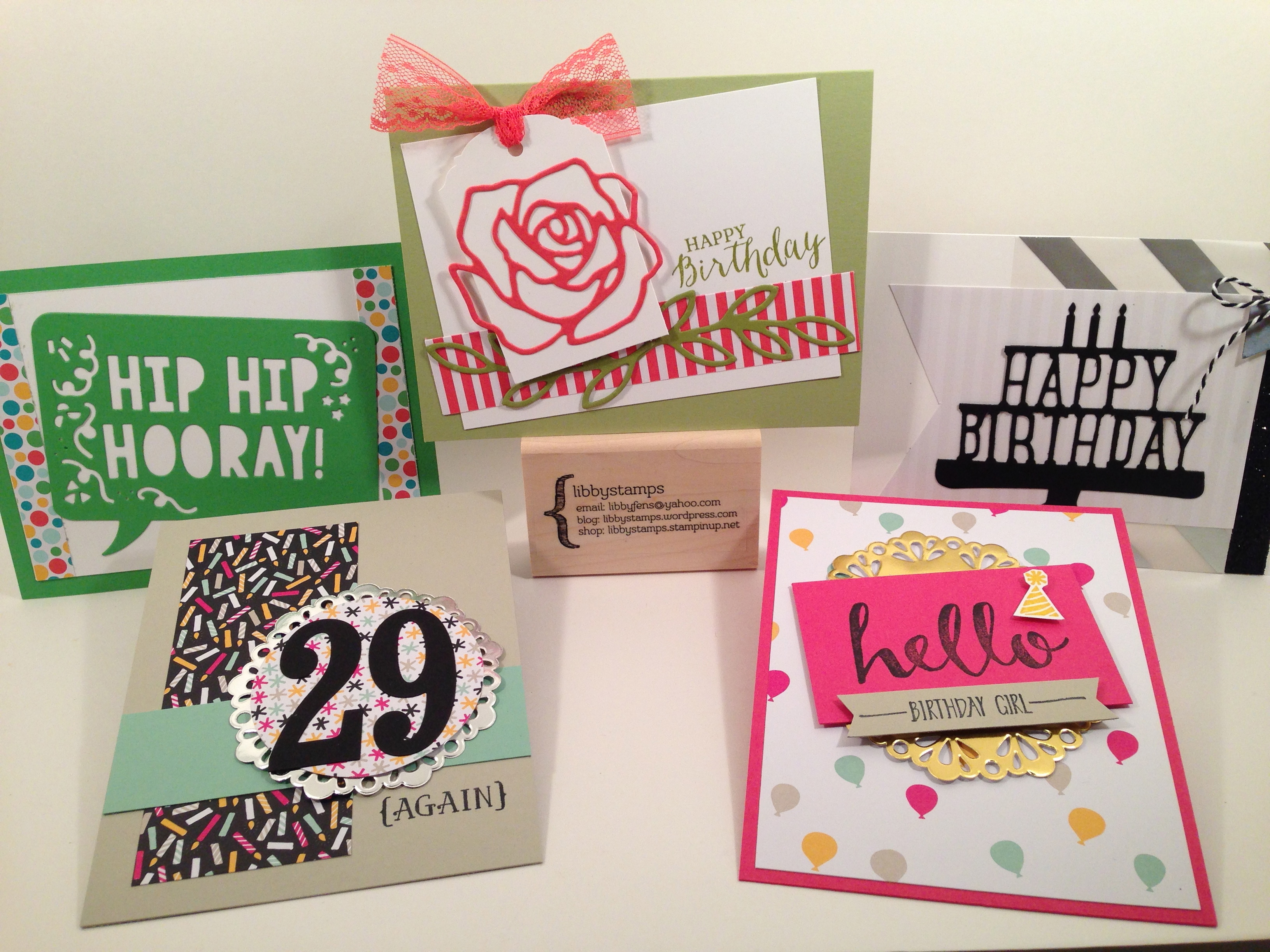 libbystamps, Stampin Up, Party Pop-Up Thinlits, Rose Garden Thinlits, Large Numbers Framelits, Hello, Metallic Foil Doilies, It's My Party DSP,