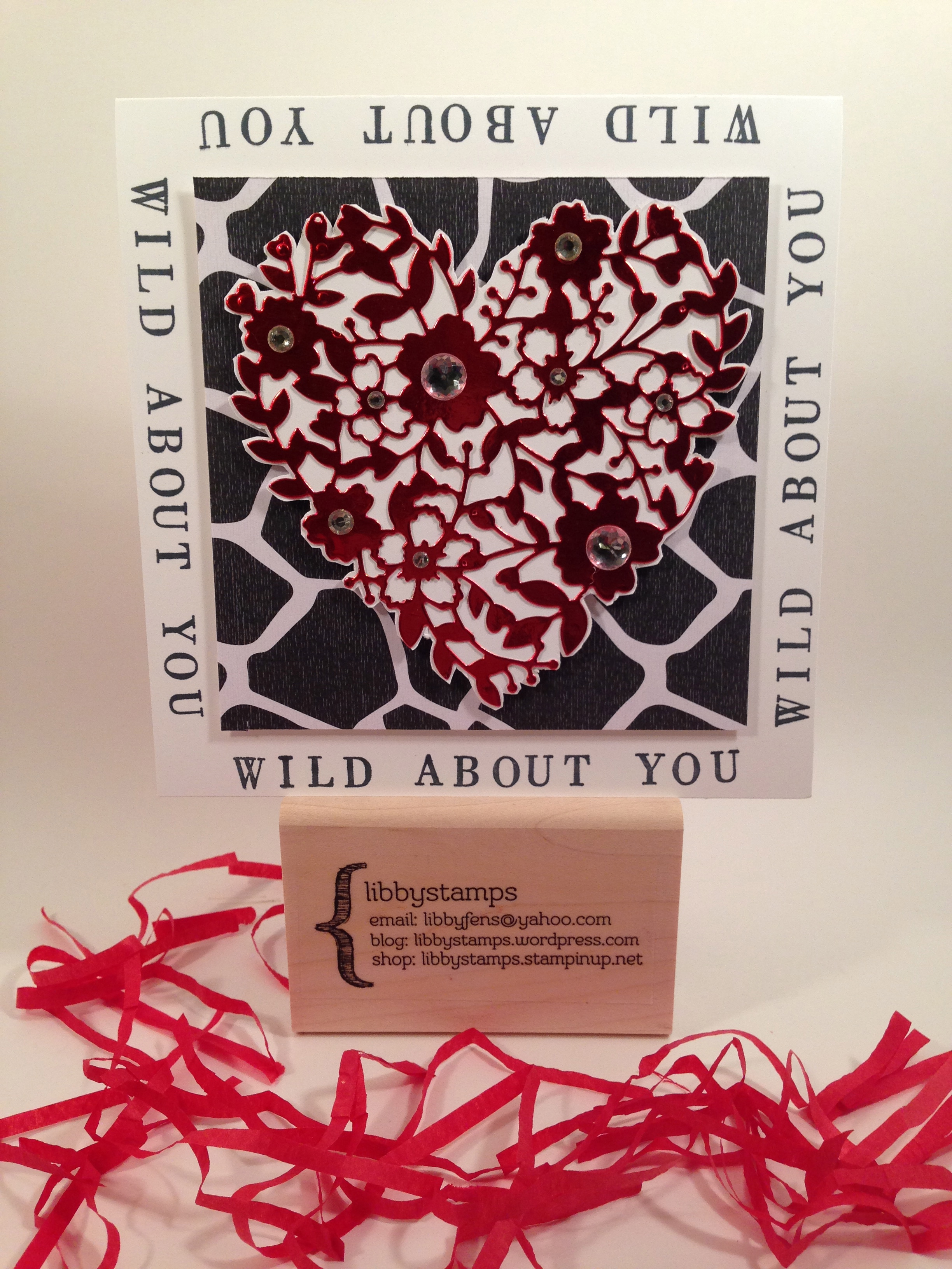 libbystamps, Stampin' Up, Blogging Friends Blog Hop, Bloomin' Hearts Thinlits, Go Wild DSP Stack, Red Foil Sheets, Valentine's, treat bag