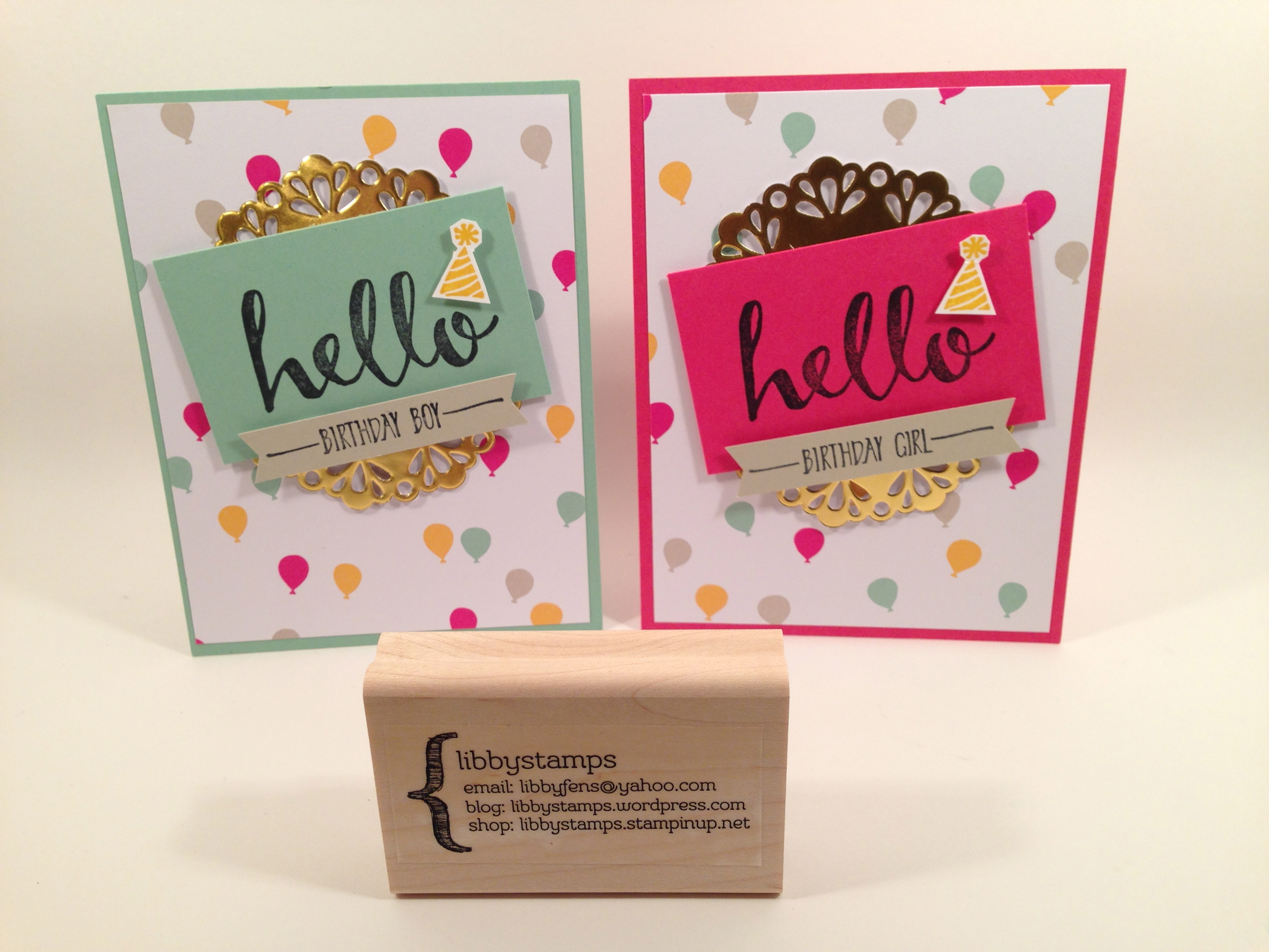 libbystamps, Stampin' Up, Hello, It's My Party DSP, Metallic Foil Doilies, Banner Punch, Sale-a-Bration 2016,