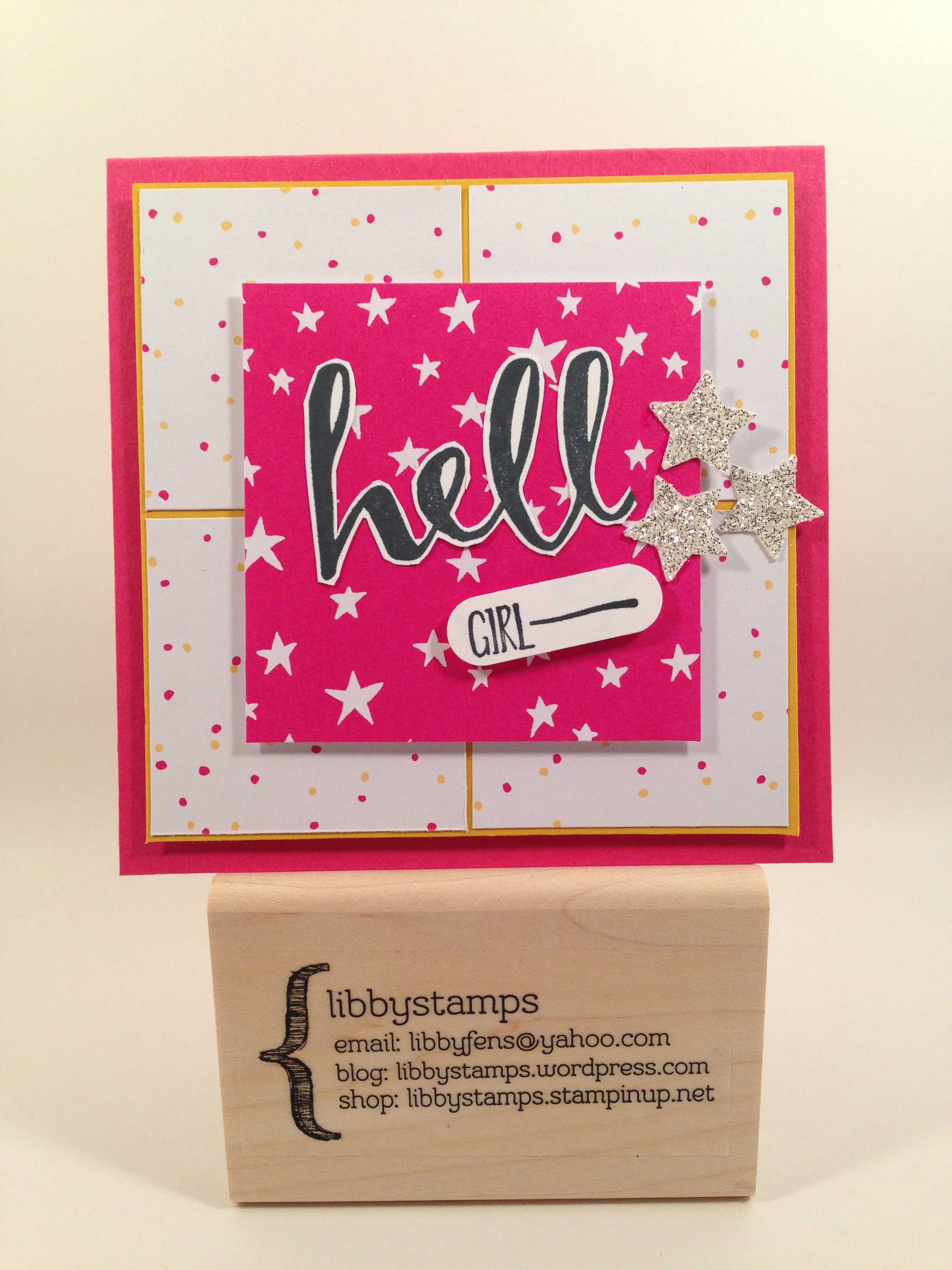 libbystamps, Stampin Up, WWC53, PP280, Hello, It's My Party DSP, Word Window Punch, Silver Glimmer Paper, Sale-a-bration 2016