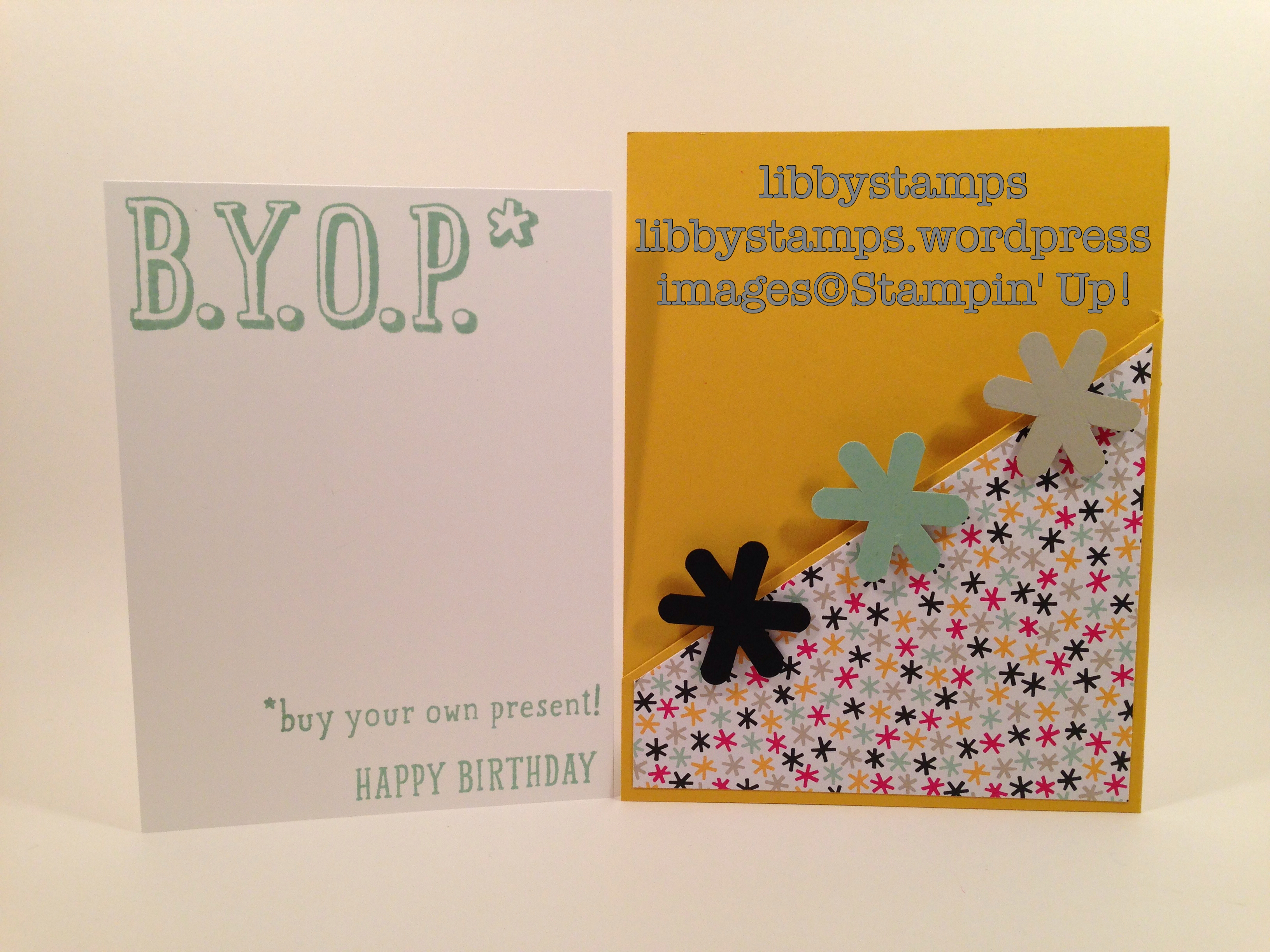 libbystamps, stampin' up, B.Y.O.P., It's My Party DSP, 1 1/4 Scallop Circle Punch, pocket card, CYCI#114