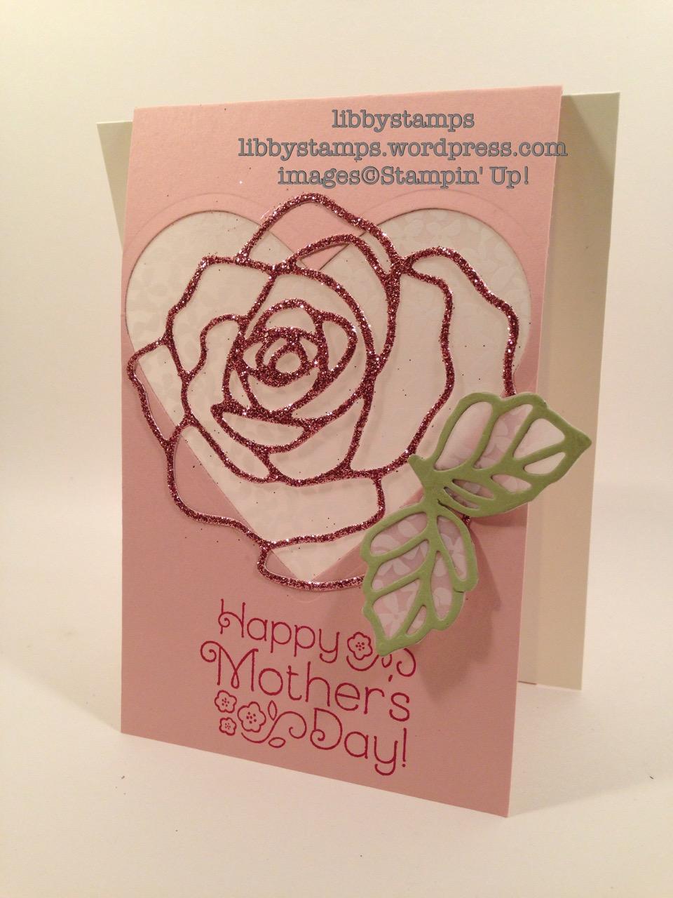 libbystamps, Stampin' Up, Lovely Little Wreath, Rose Garden Thinlits, Blushing Bride Glimmer Paper, Botanical Gardens Vellum, Mother's Day, TSOT269