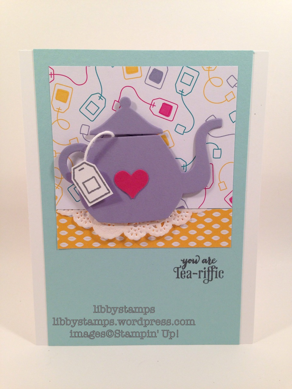 libbystamps, stampin' up, Card Buffet, A Nice Cuppa, Cups & Kettle Framelits, Have a Cuppa DSP, Tea Lace Paper Doilies, Itty Bitty Accents Punch Pack,