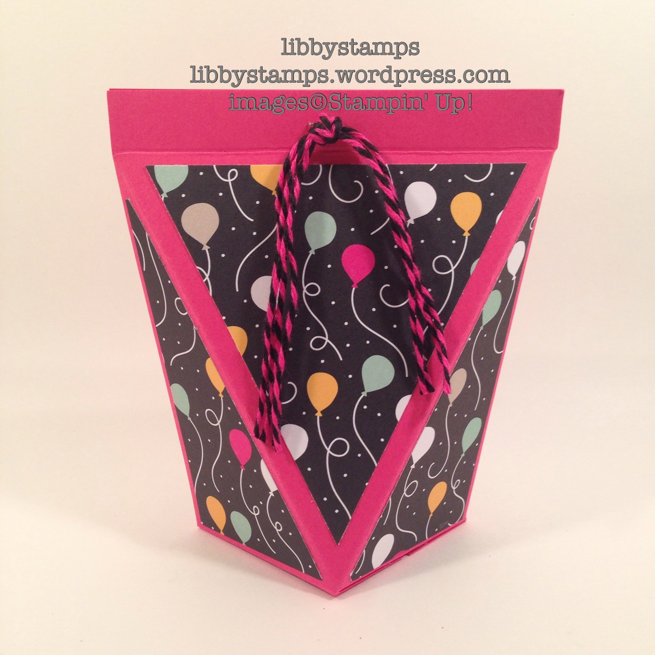 libbystamps, stampin' up, Pomp & Circumstance, Simply Scored, Stampin' Pierce Mat, Self-Close Box, Fringe Scissors, It's My Party DSP, Baker's Twine Combo