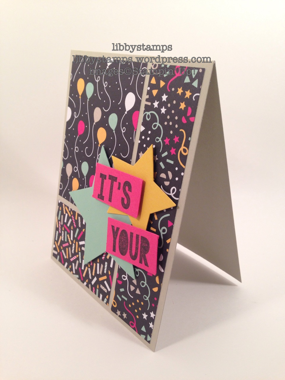 libbystamps, stampin up, Party with Cake, Stars Framelits, It's My Party DSP, TSOT271