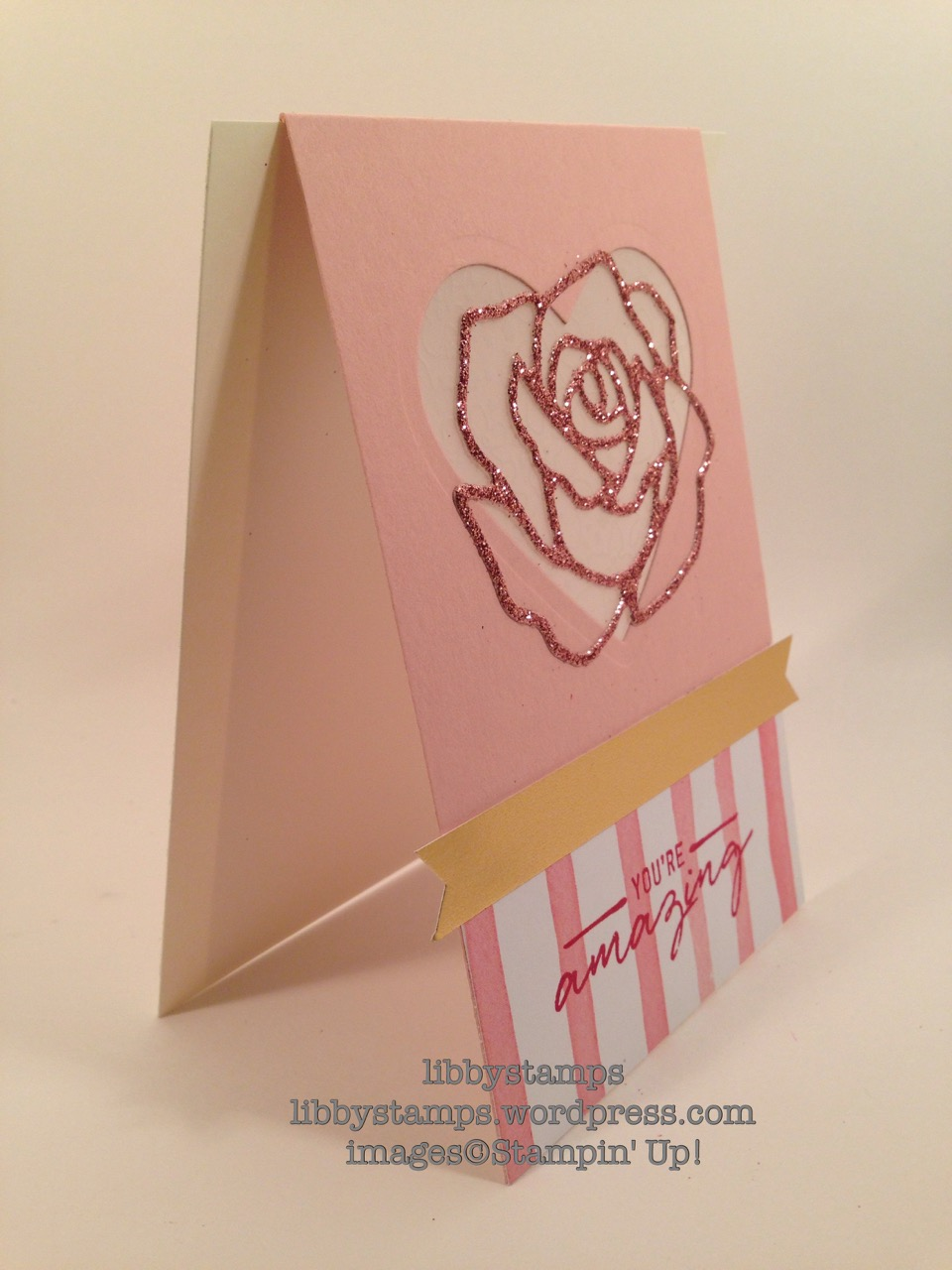 libbystamps, stampin up, Watercooler Wishes Card Kit, Rose Garden Thinlits, Hearts Collection Framelits, Banner Triple Punch, Blushing Bride Glimmer Paper, Birthday Bouquet DSP, Botanical Gardens Vellum, Fold Over Card