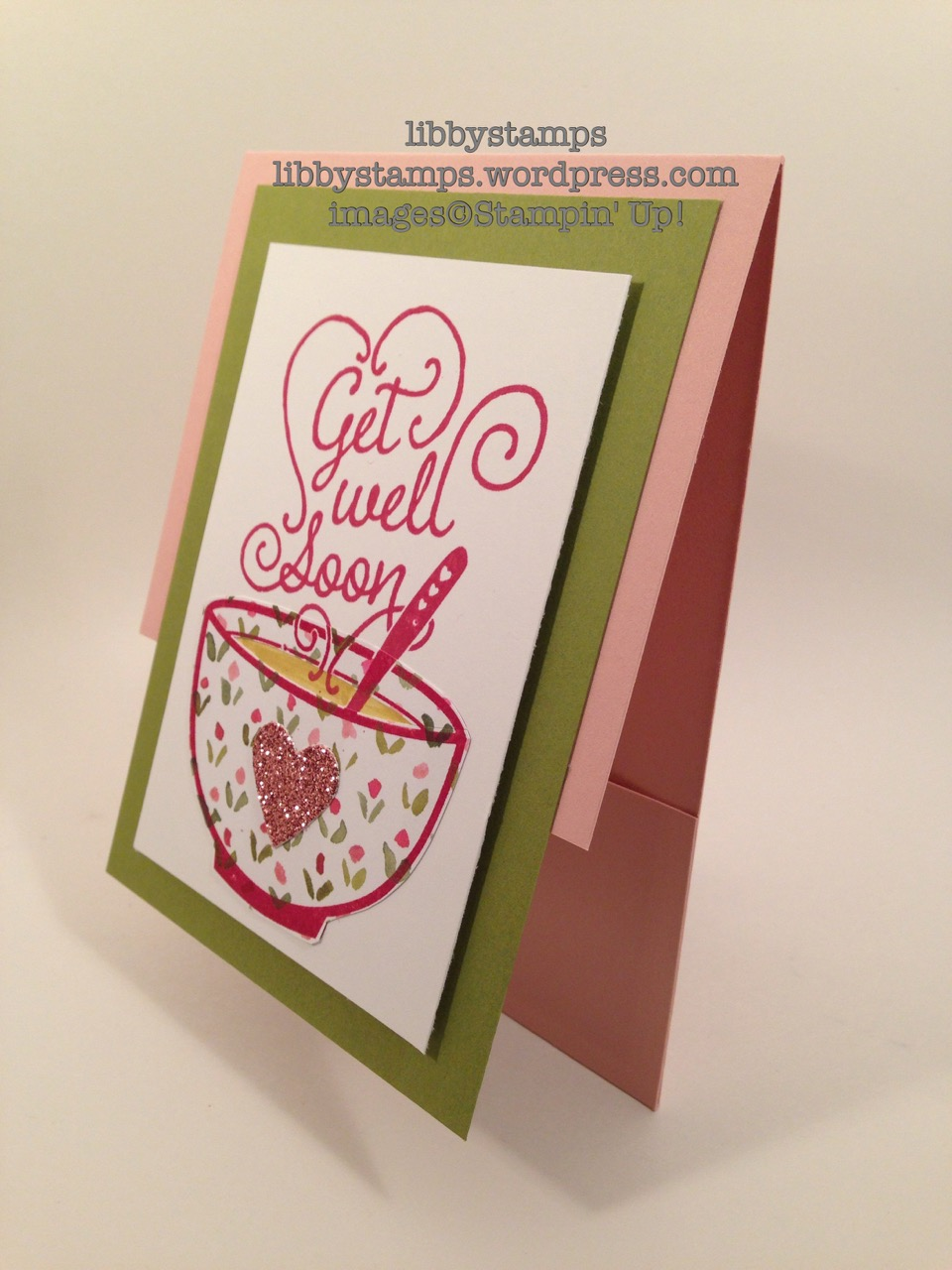 libbystamps, stampin up, Get Well Soup, Hearts Collection Framelits, English Garden DSP, Blushing Bride DSP, soup holder