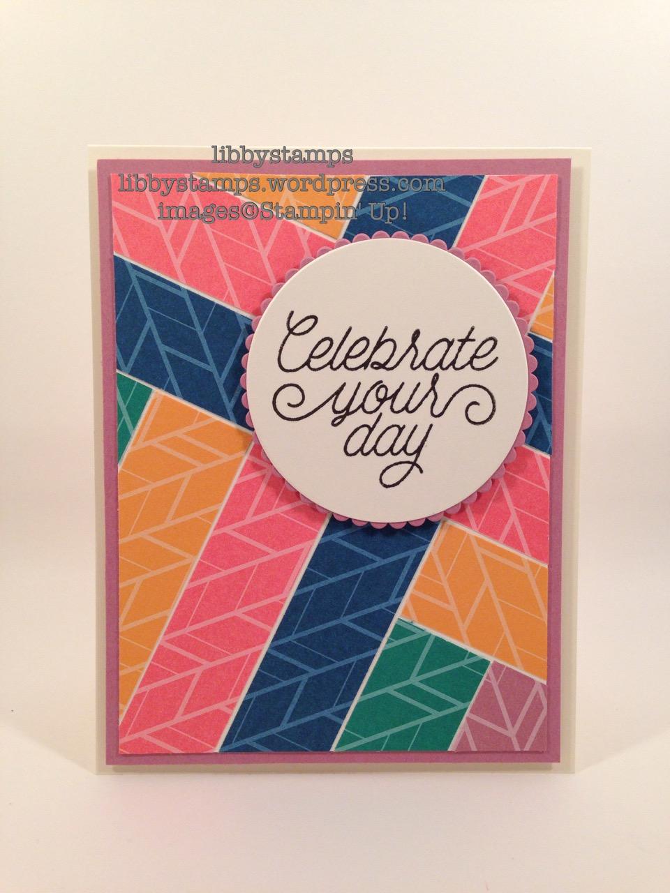 libbystamps, stampin up, Designer Tin of Cards, 2016-2018 In-Colors, 2016-2018 In-Color Envelope Paper, Layering Circles Framelits, WWC72