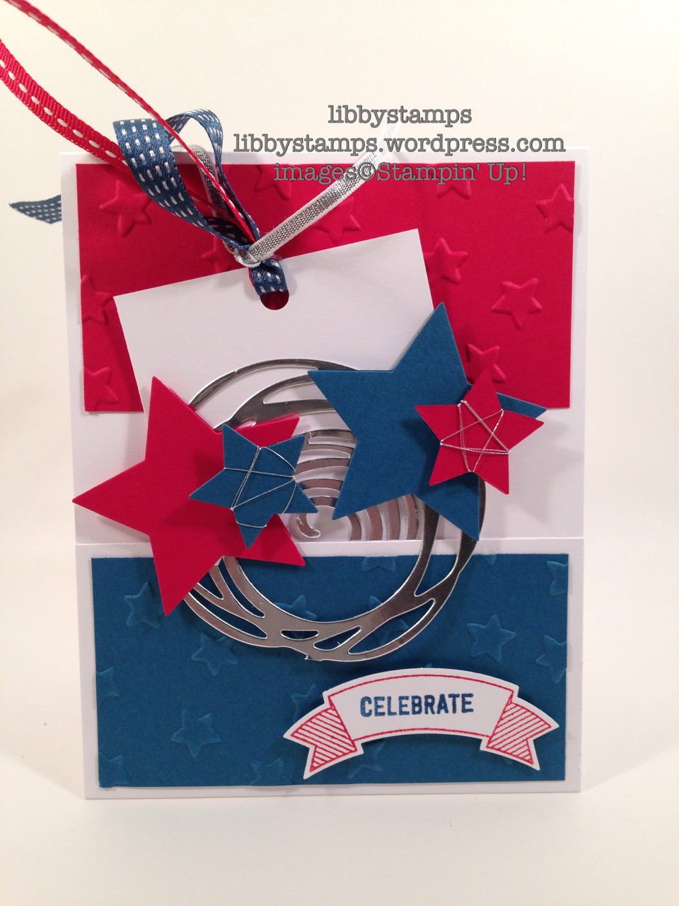 libbystamps, stampin up, Swirly Scribbles Thinlits, Silver Metallic Thread, Stars Framelits, SwWWC74, Thoughtful Banners, Duet Banner, Lucky Stars EF, July 4