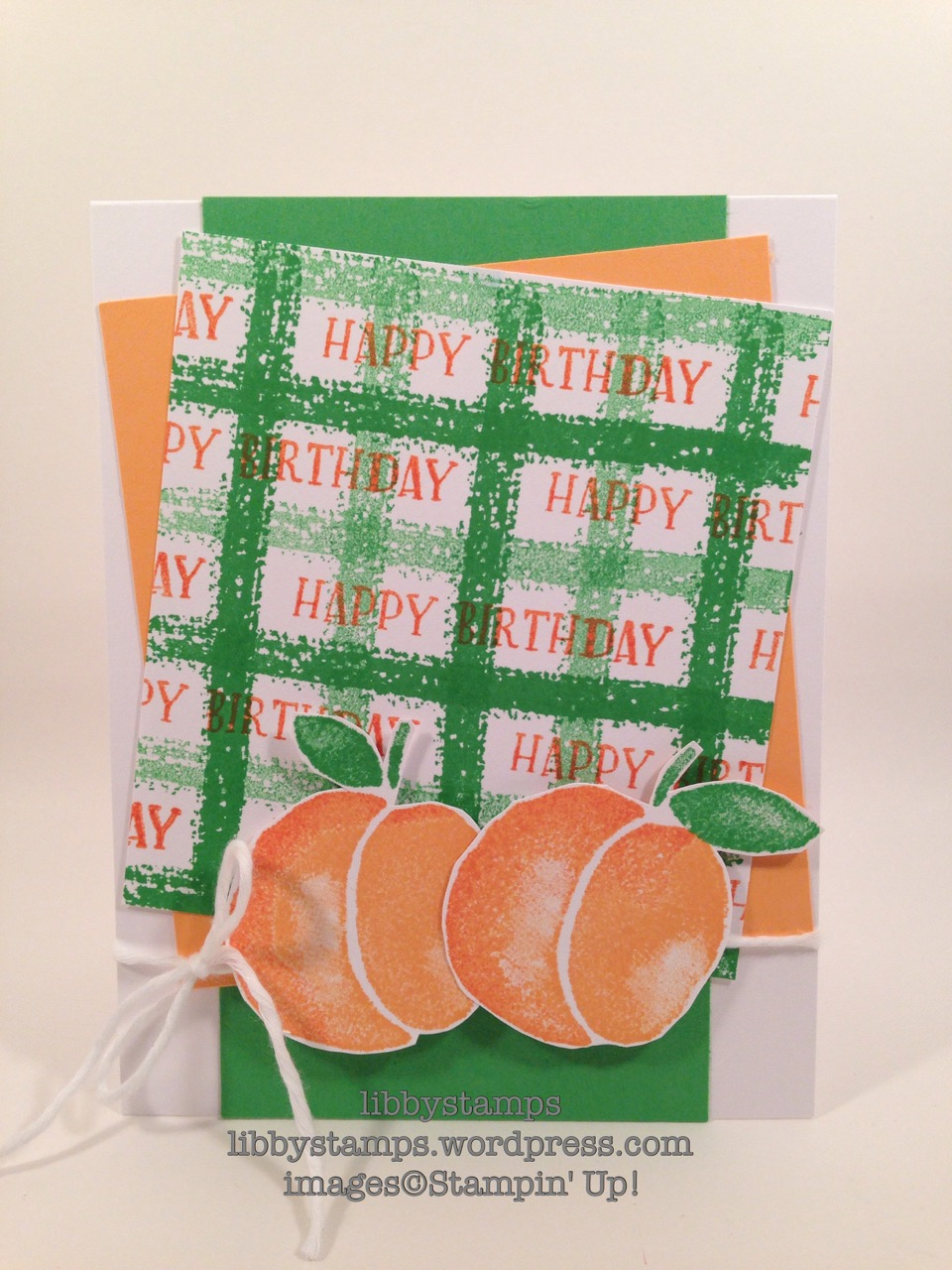 libbystamps, stampin up, Fresh Fruit , plaid background, CCMC414, peaches