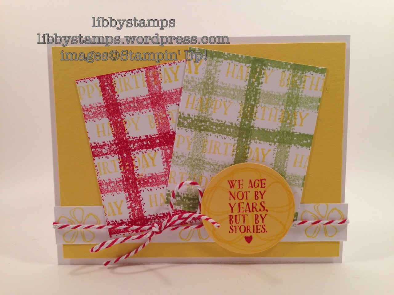 libbystamps, stampin up, Work of Art, Fresh Fruit, TSOT279, plaid background