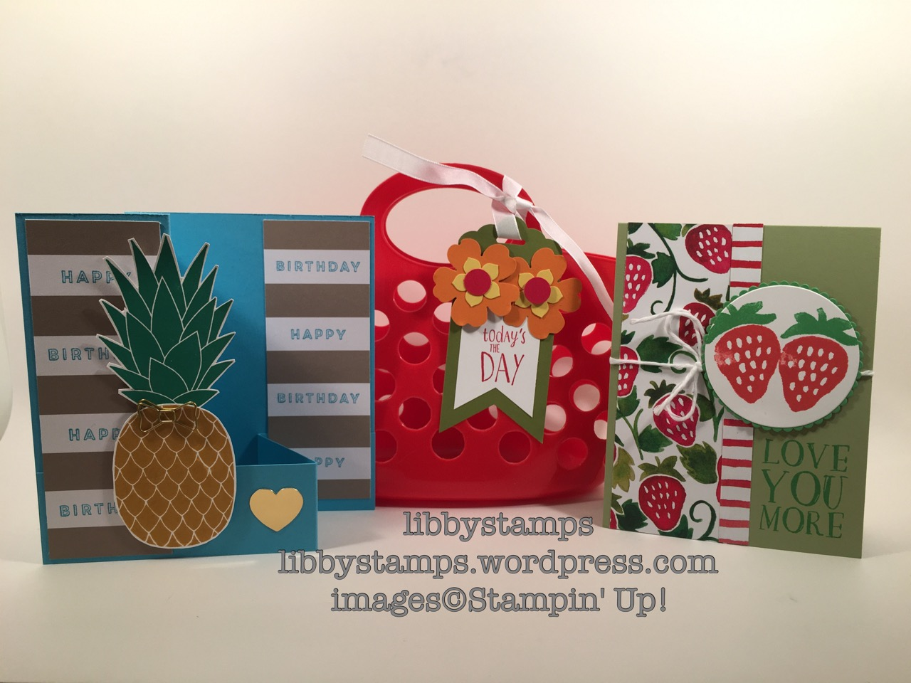 libbystamps, stampin up, Fresh Fruit, Fruit Stand DSP, Layering Circles Framelits, Pineapple, Bow paper Clips, June Paper Pumpkin