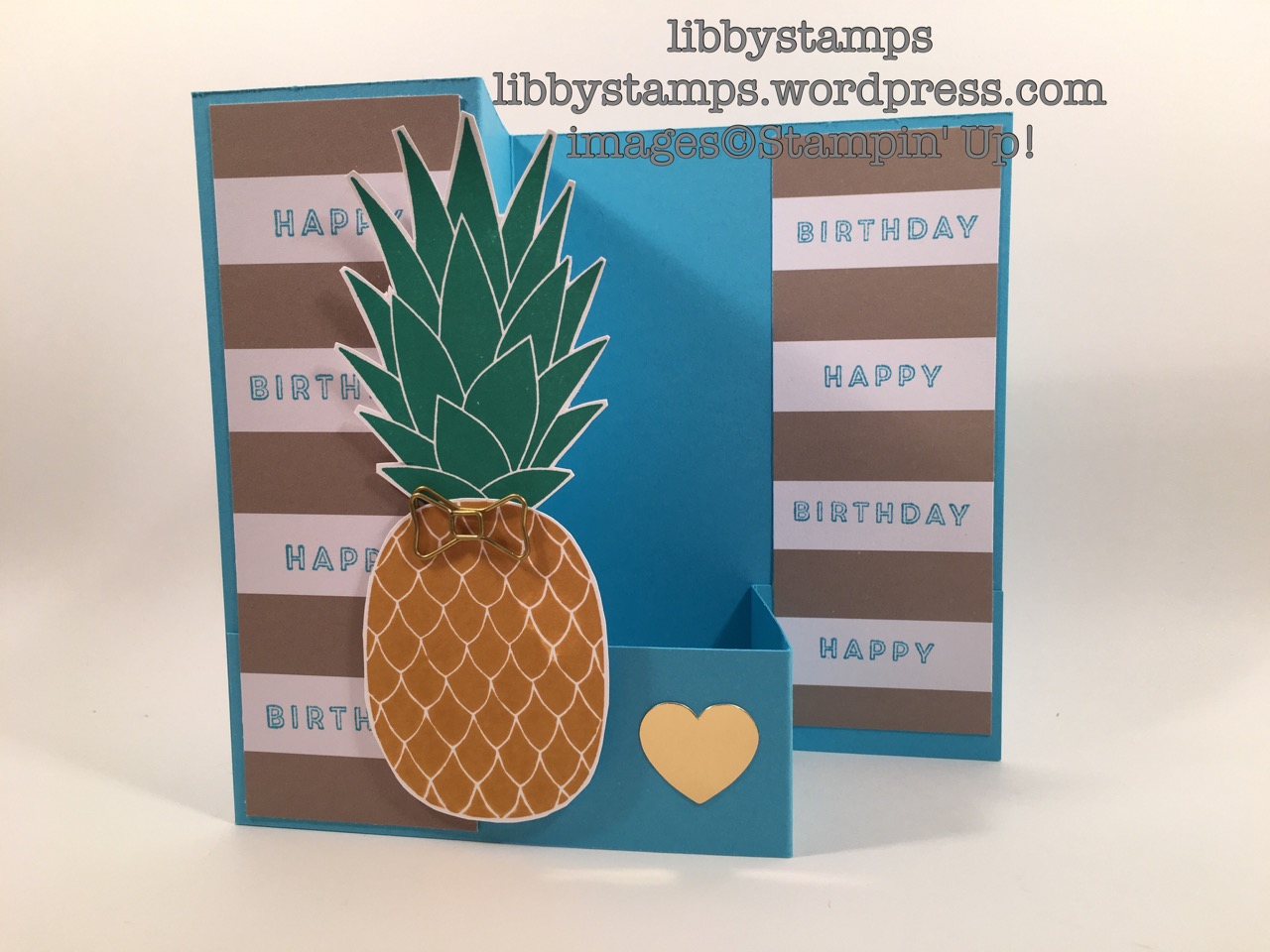 libbystamps, stampin up, Pineapple, Bow Paper Clips, June paper Pumpkin, Z-Fold