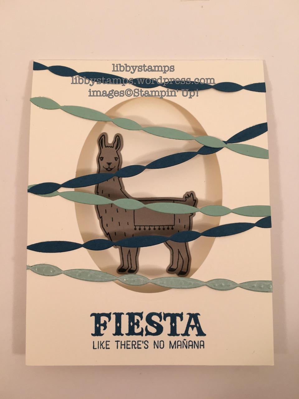 libbystamps, stampin up, Birthday Fiesta, Fiesta Time Framelits, CCMC416, Llama