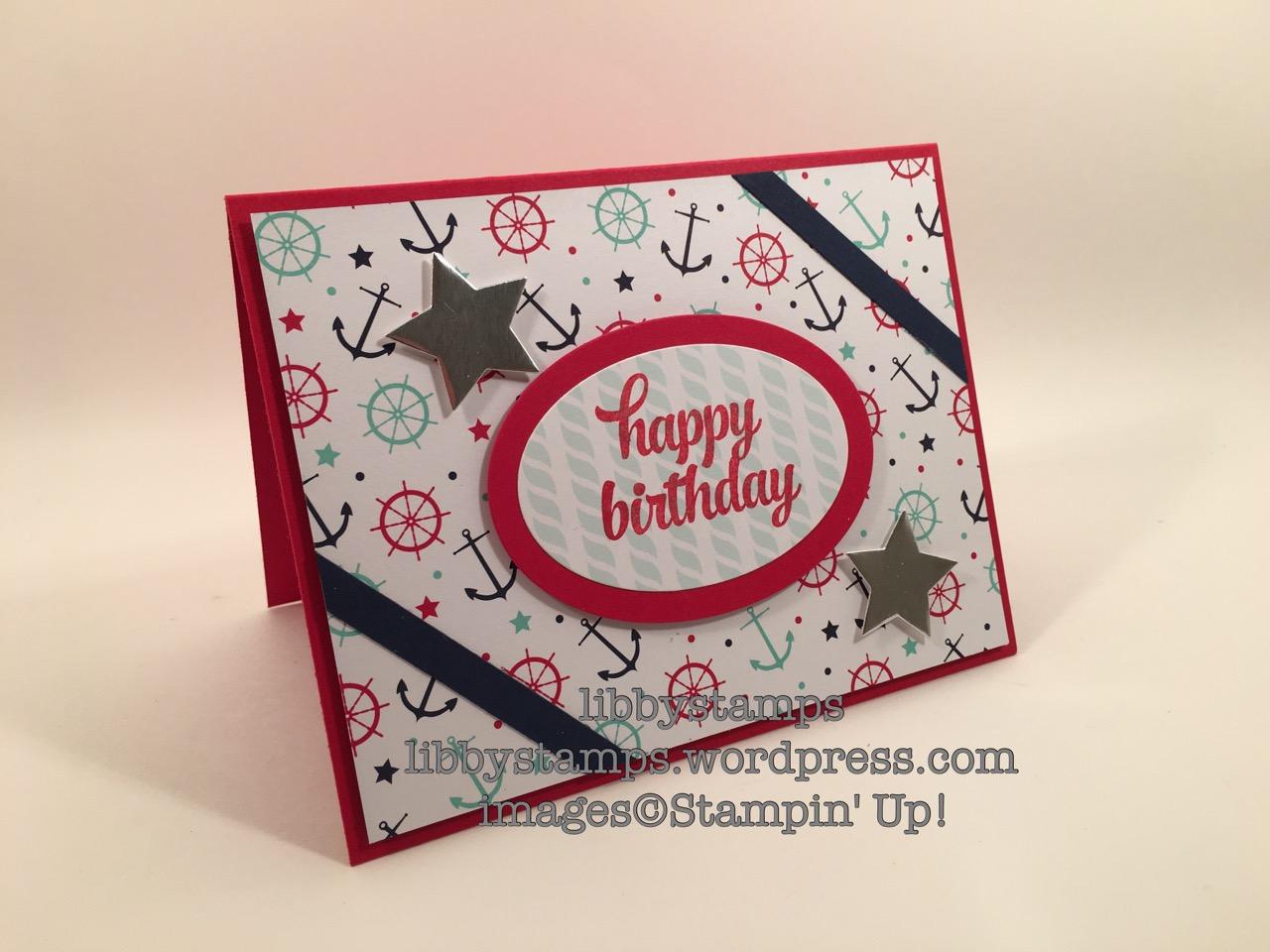 libbystamps, stampin up, Tin of Cards Stamp Set, Maritime DSP, Ovals Collection Framelits, Stars Framelits, Nautical, TSOT#281
