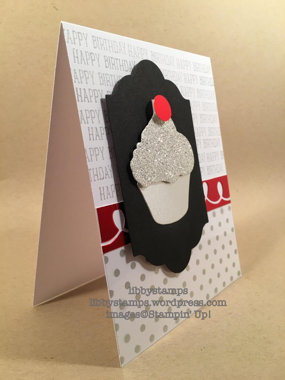 libbystamps, stampin up, Sweet Cupcake, Cupcake Cutouts Framelits, Lots of Labels Framelits, Fabulous Foil Designer Acetate, Silver Foil, Silver Glimmer Paper, Red Foil Sheets