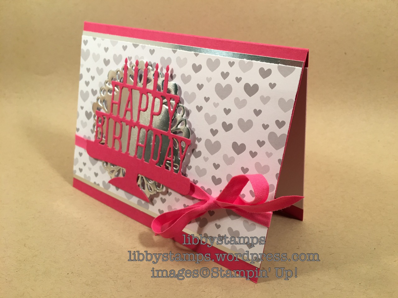 libbystamps, stampin up, Party Pop-Up Thinlits, A Little Foxy DSP, Metallic Foil Doilies, Silver Foil, Melon Mambo 1/4 Cotton Ribbon