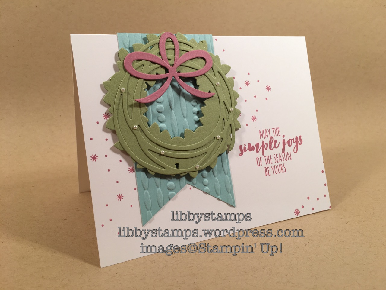 libbystamps, stampin up, Pines Thinlits, Festive EF, Christmas Pines, Swirly Scribbles Thinlits, Wonderful Wreath Framelits, Triple Banner Punch, CCMC428, Christmas