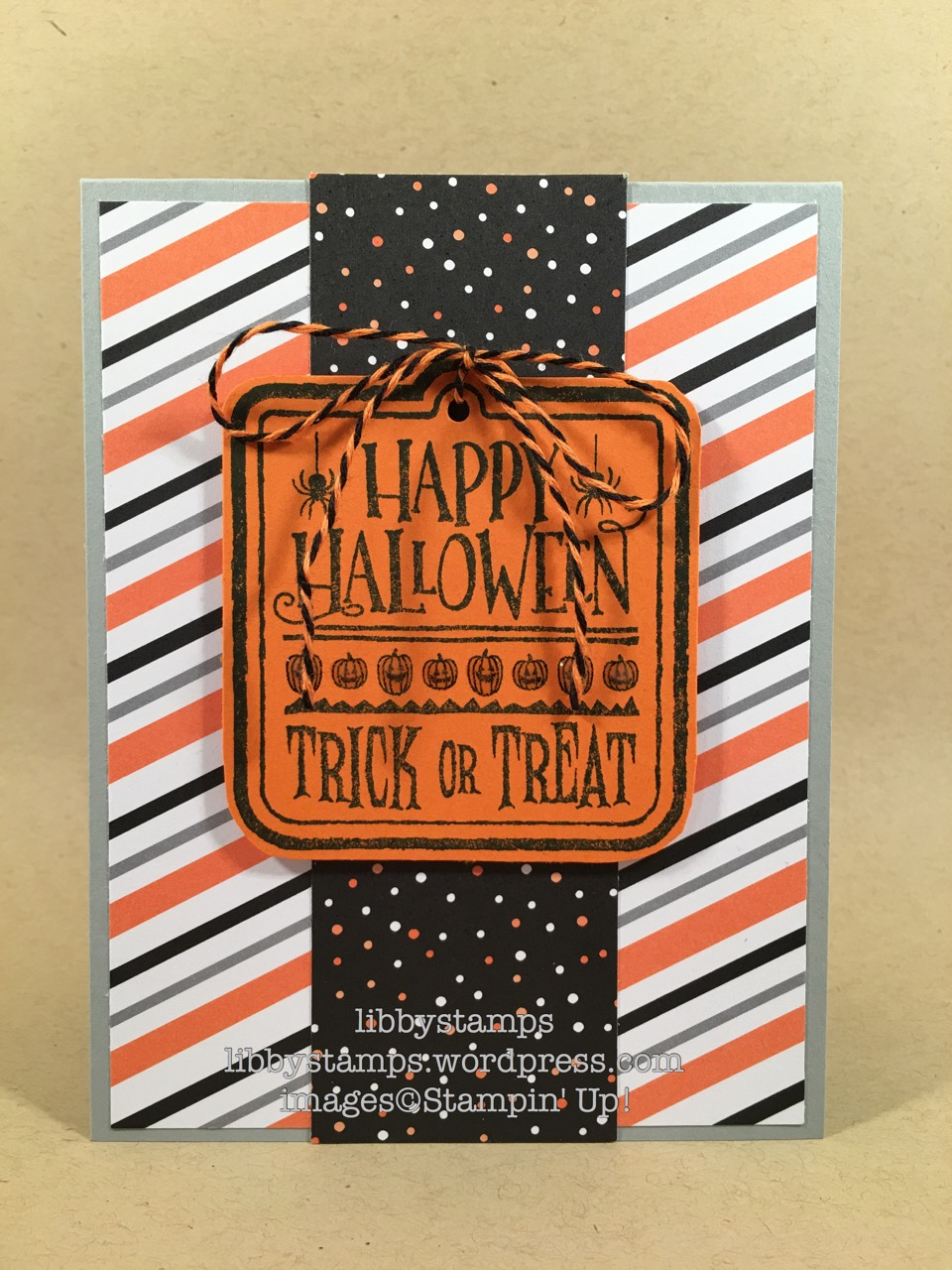 libbystamps, stampin up, Halloween Treat Stamp, Halloween Night Specialty DSP, Halloween Night Baker's Twine, Halloween, Nacho Average Challenges