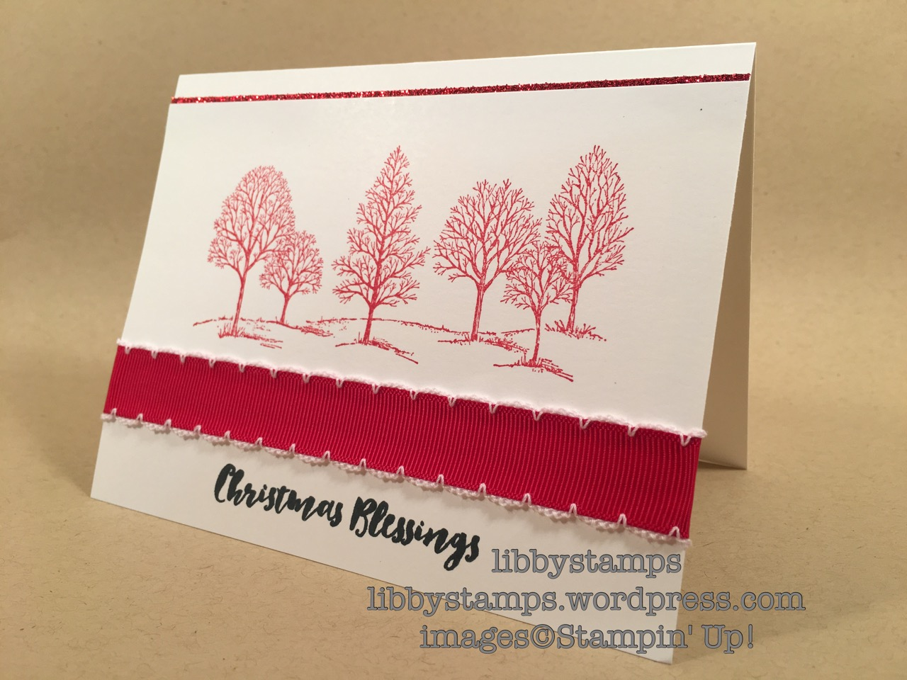 libbystamps, stampin up, Lovely as a Tree, Christmas Pines, Real red 3/4 Stitched Edge Ribbon, BFBH