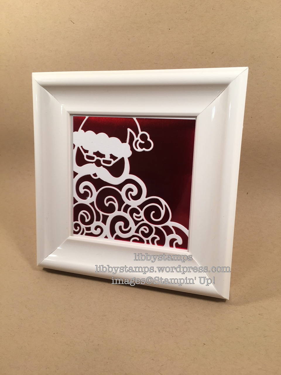 libbystamps, stampin up, Red Foil, Detailed Santa Thinlits, Christmas frame