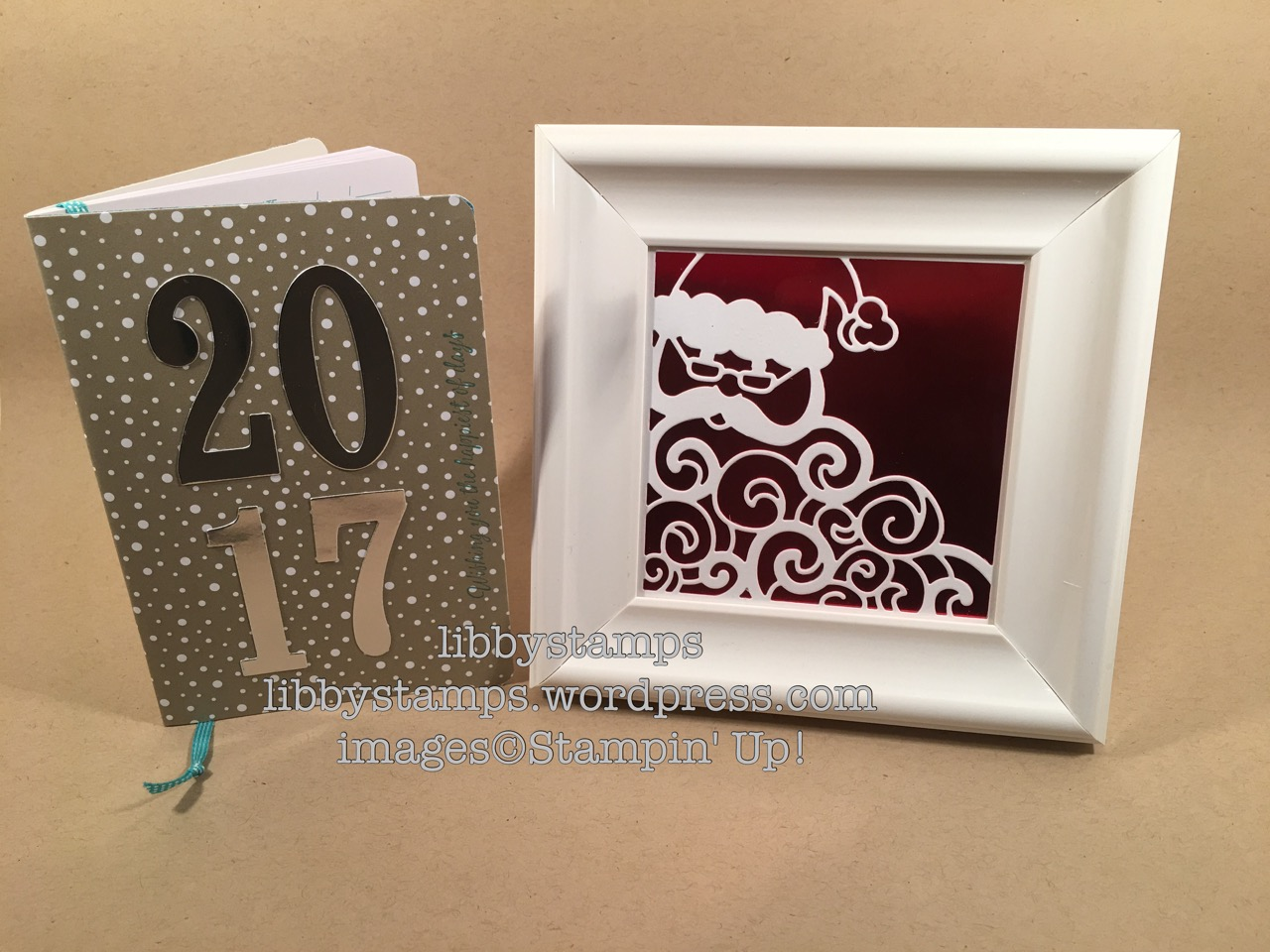 libbystamps, stampin up, Red Foil, Silver Foil, Detailed Santa Thinlits, Large Numbers Framelits, Frosted Medallion, Candy Cane Lane DSP, date book