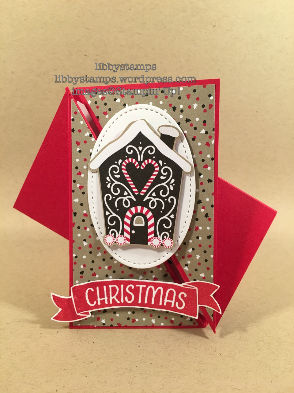 libbystamps, stampin up, Stitched Shapes Framelits, Candy Cane Lane, Suite Seasons, Time of Year, Twist Gate Fold