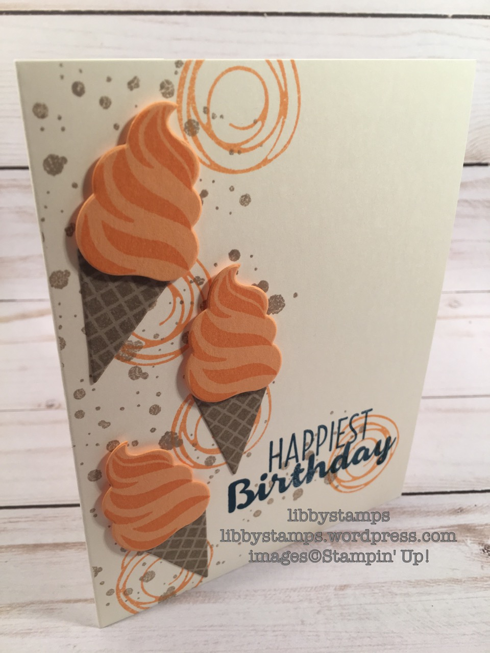 libbystamps, stampin up, Cool Treats, Swirly Bird, Frozen Treats Framelits, ice cream, CCMC444