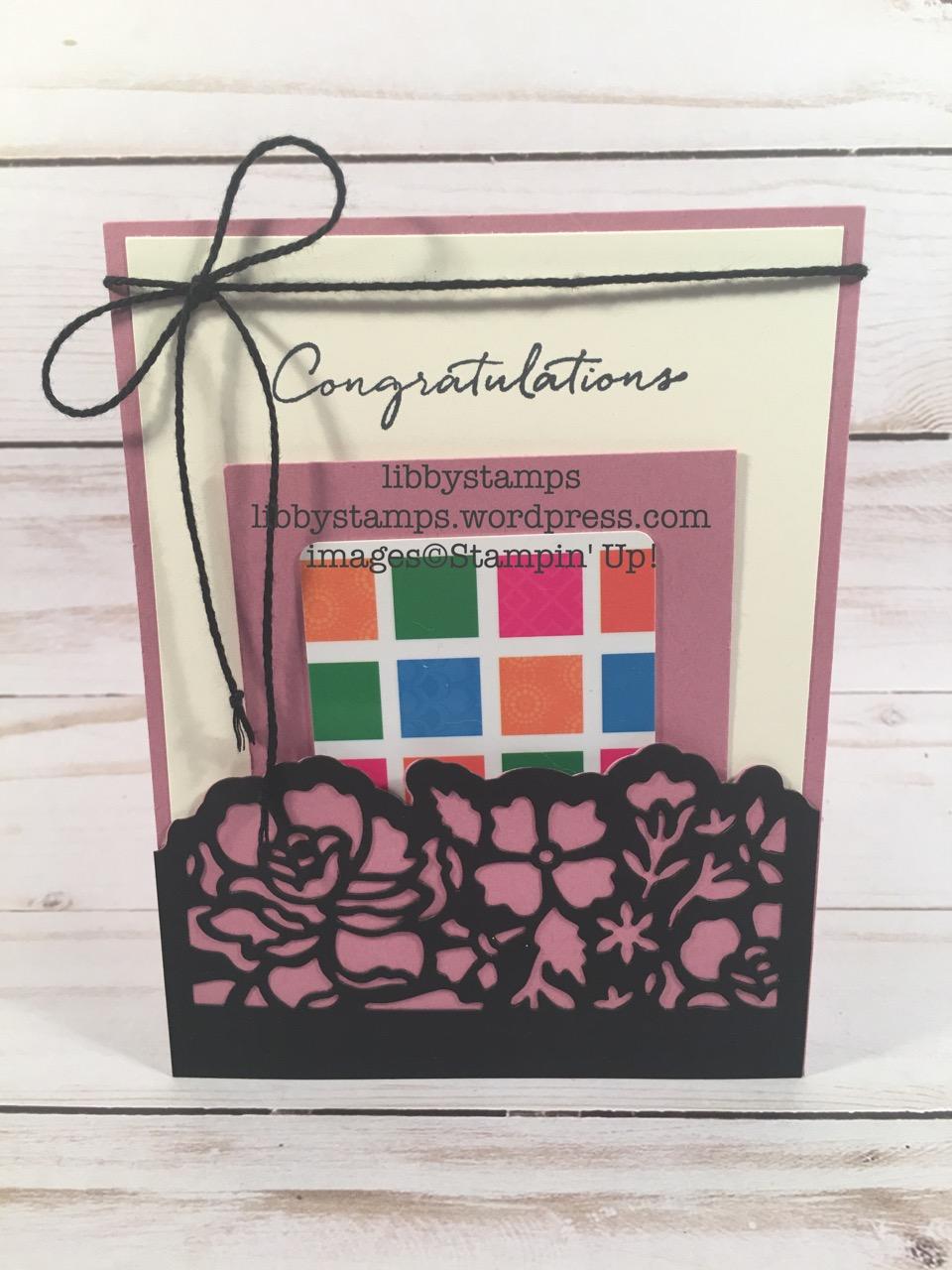 libbystamps, stampin up, Detailed Floral Thinlits, Floral Phrases, Floral Phrases Bundle, wedding, gift card holder, pocket card