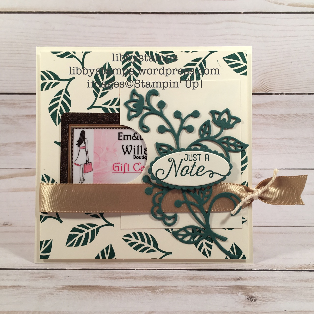libbystamps, stampin up, Flourishing Phrases, Flourish Thinlits, Layering Ovals Collection, Tranquil Tide, CCMC, gift card holder, catalog CASE