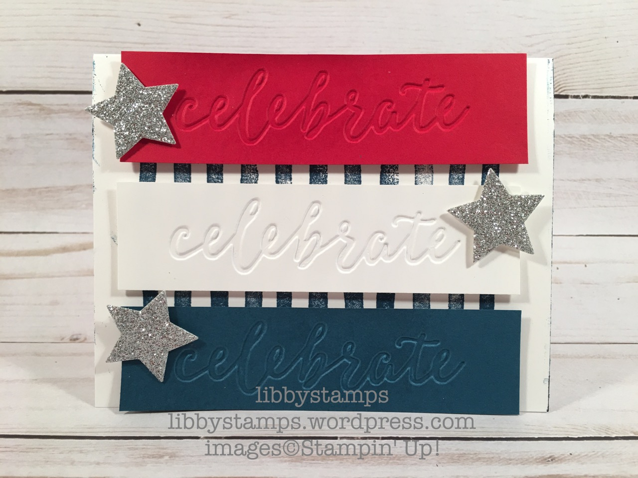 libbystamps, stampin up, Brushstrokes, Wood Crate Framelits, Celebrations Duo EF, CCMC, patriotic, red white & blue
