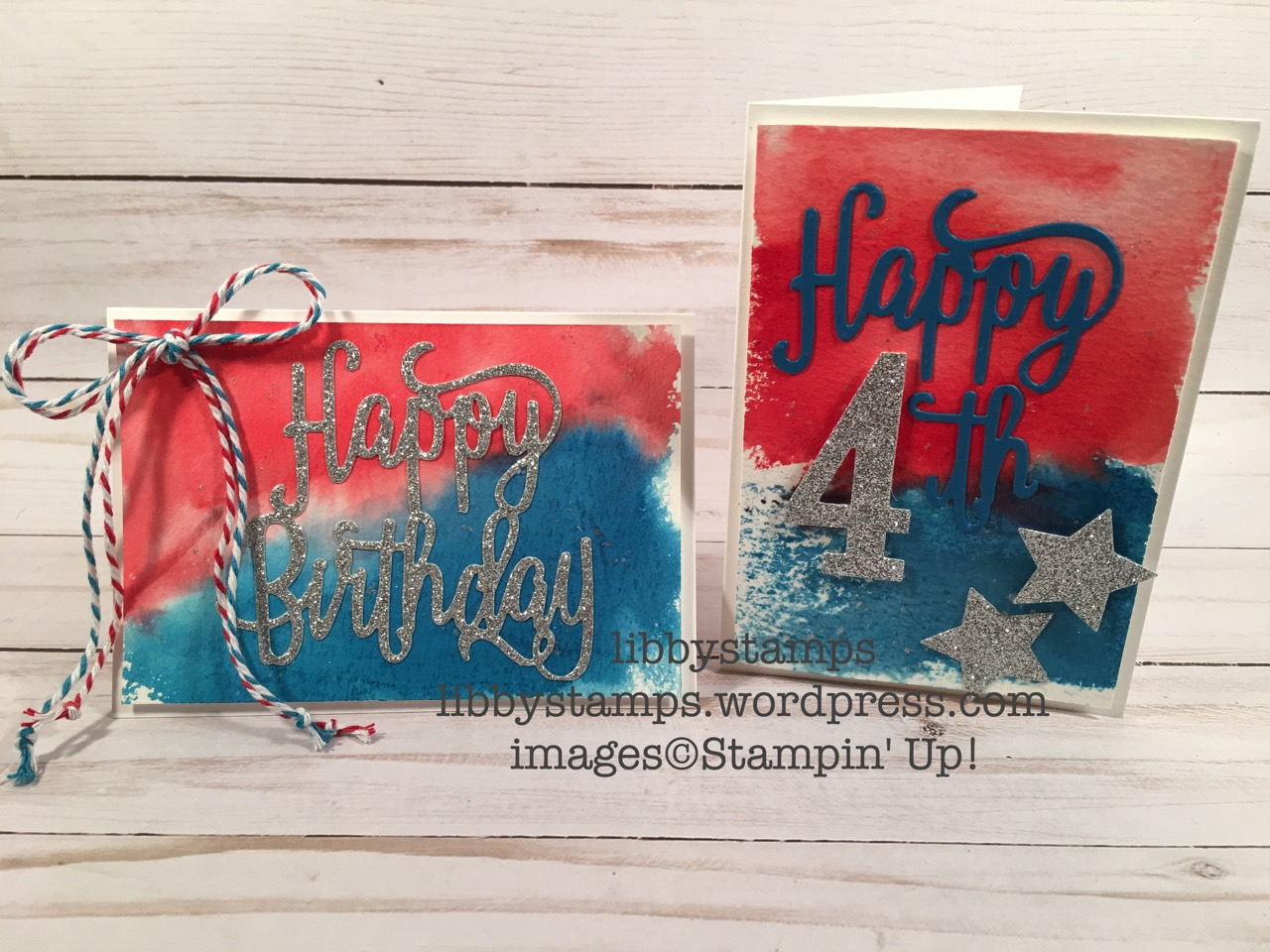 libbystamps, stampin up, Happy Birthday Thinlits, Large Numbers Framelits, Wood Crate Framelits, Patriotic, BFBH, watercolor, red white & blue