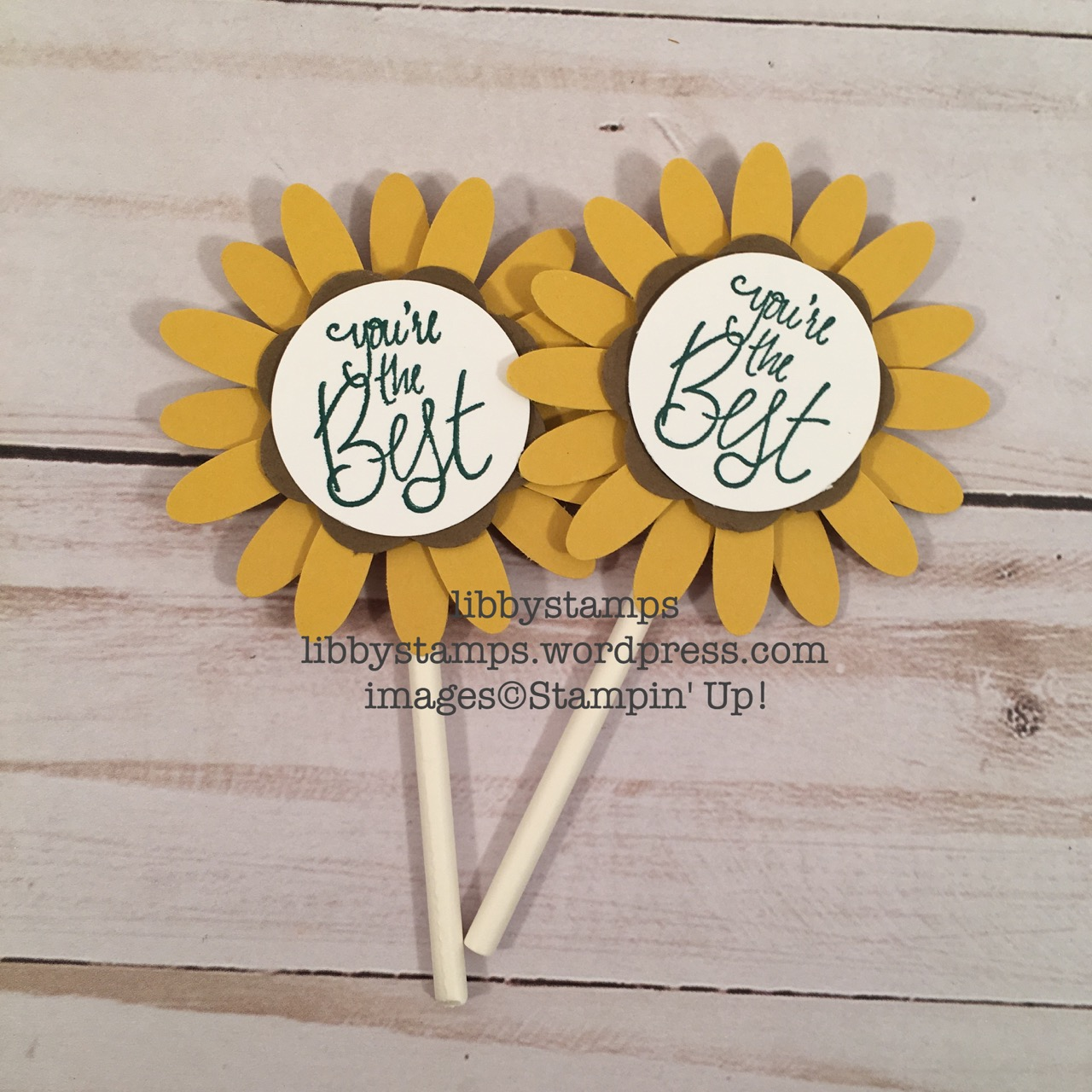 libbystamps, stampin up, Daisy Punch, Label Me Pretty, sunflower, card candy