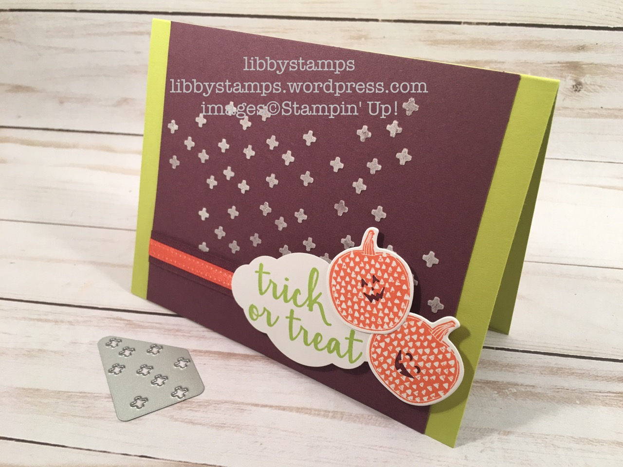 libbystamps, stampin up, Creep it Real, Pick a Pumpkin, Pick a Pumpkin Bundle, Patterned Pumpkins Thinlits, Pretty Label Punch, Embossing Paste, Palette Knives, CCMC