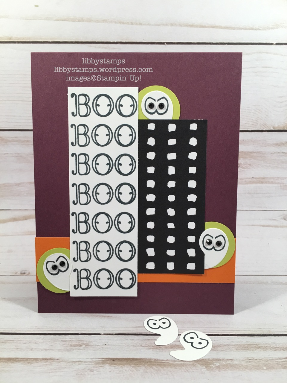 libbystamps, stampin up, Spooky Cat,Creep it Real, Patterned Pumpkins Thinlits, Pick a PatternDSP, CCMC