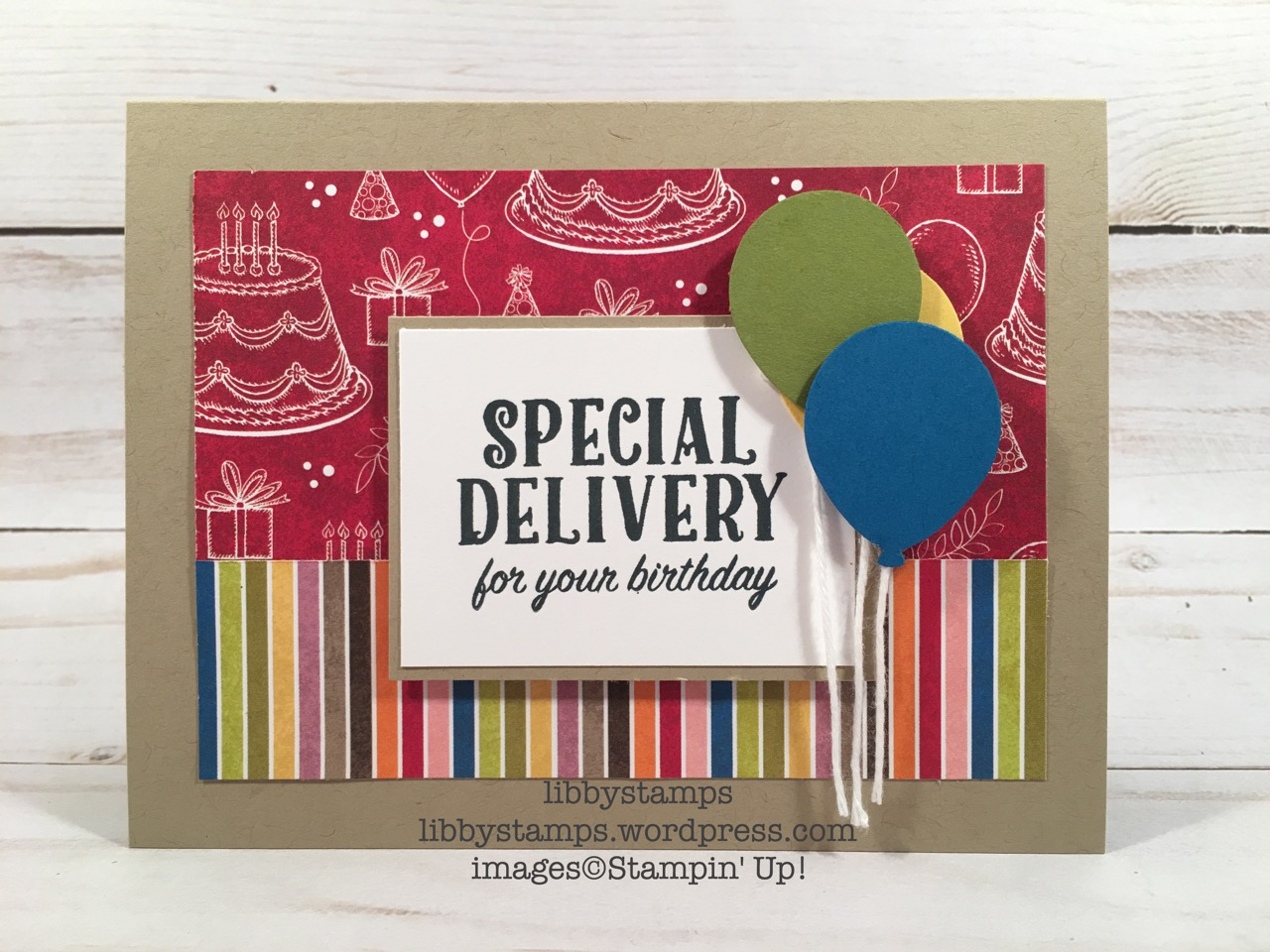 libbystamps, stampin up, Birthday Delivery, Birthday Delivery Bundle, Birthday Memories, Birthday Memories DSP, Birthday Friends Framelits, TSOT