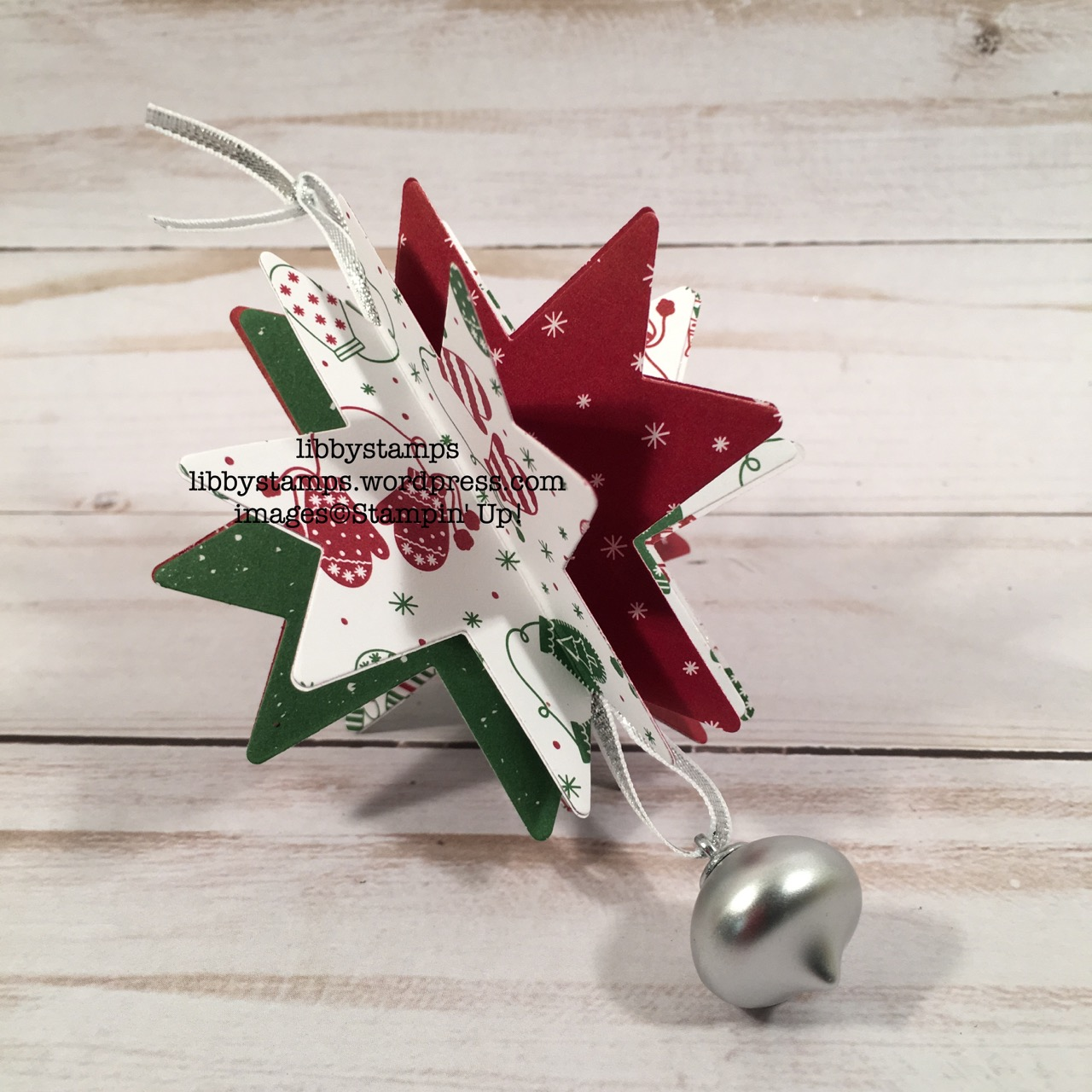 libbystamps, stampin up, Quilt Builder Framelits, Quilted Christmas 6x6, Mini Ornaments, Silver 1/8 Ribbon