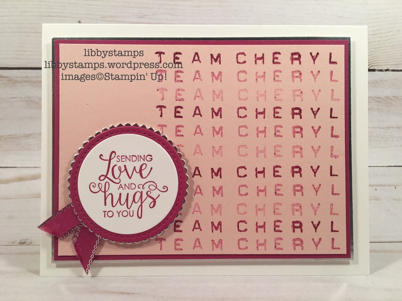libbystamps, stampin up, Labeler Alphabet, Ribbon of Courage, Layering Circles Framelits, Stitched Shapes Framelits, Berry Burst Metallic Edge Ribbon